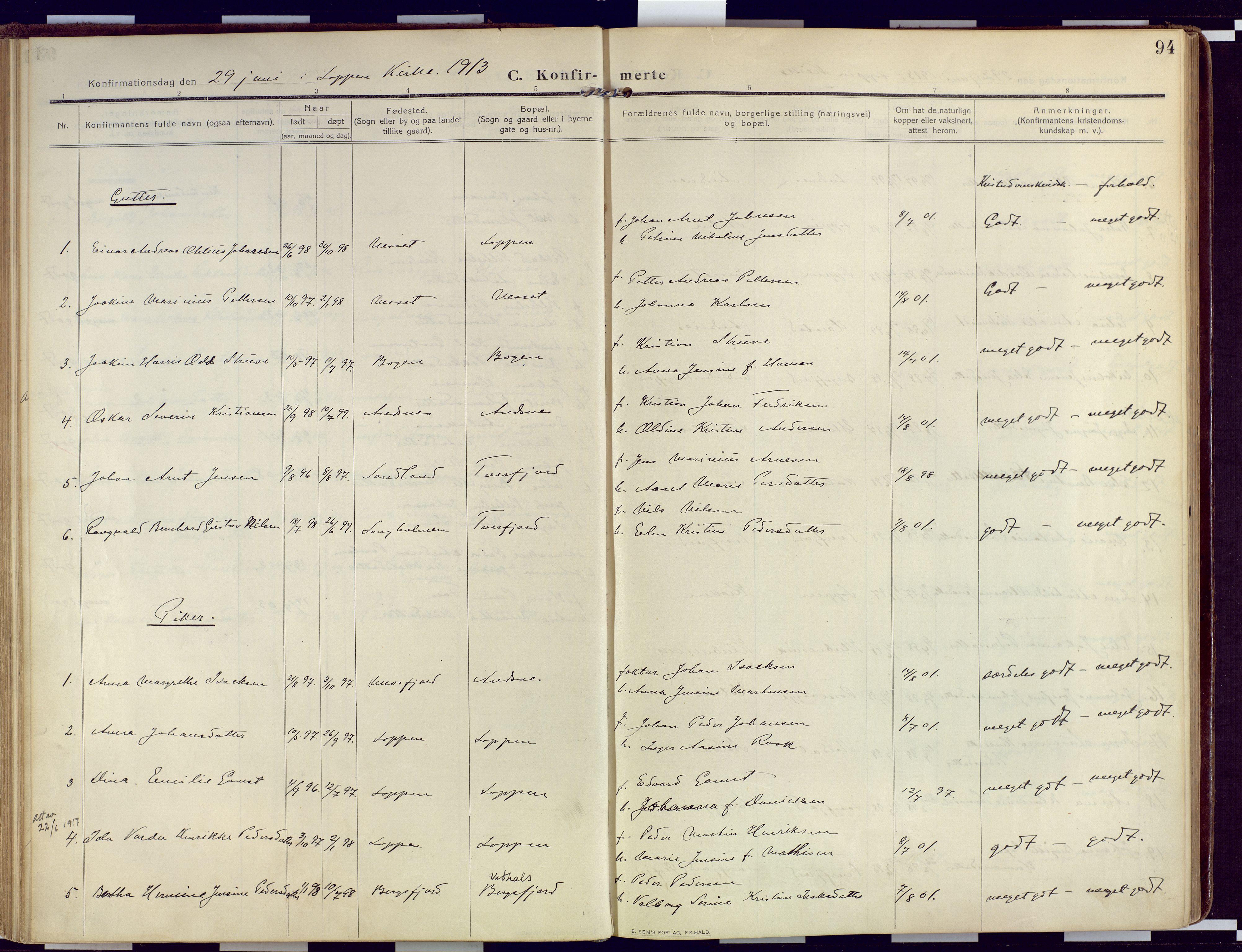 SATØ, Loppa sokneprestkontor, H/Ha/L0011kirke: Ministerialbok nr. 11, 1909-1919, s. 94