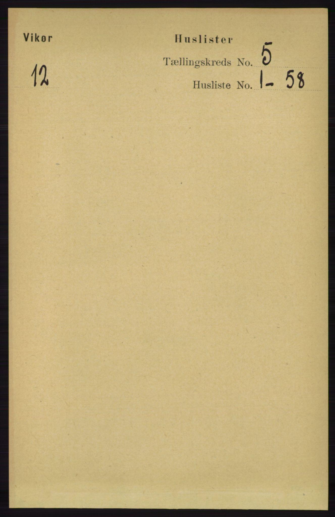 RA, Folketelling 1891 for 1238 Vikør herred, 1891, s. 1357
