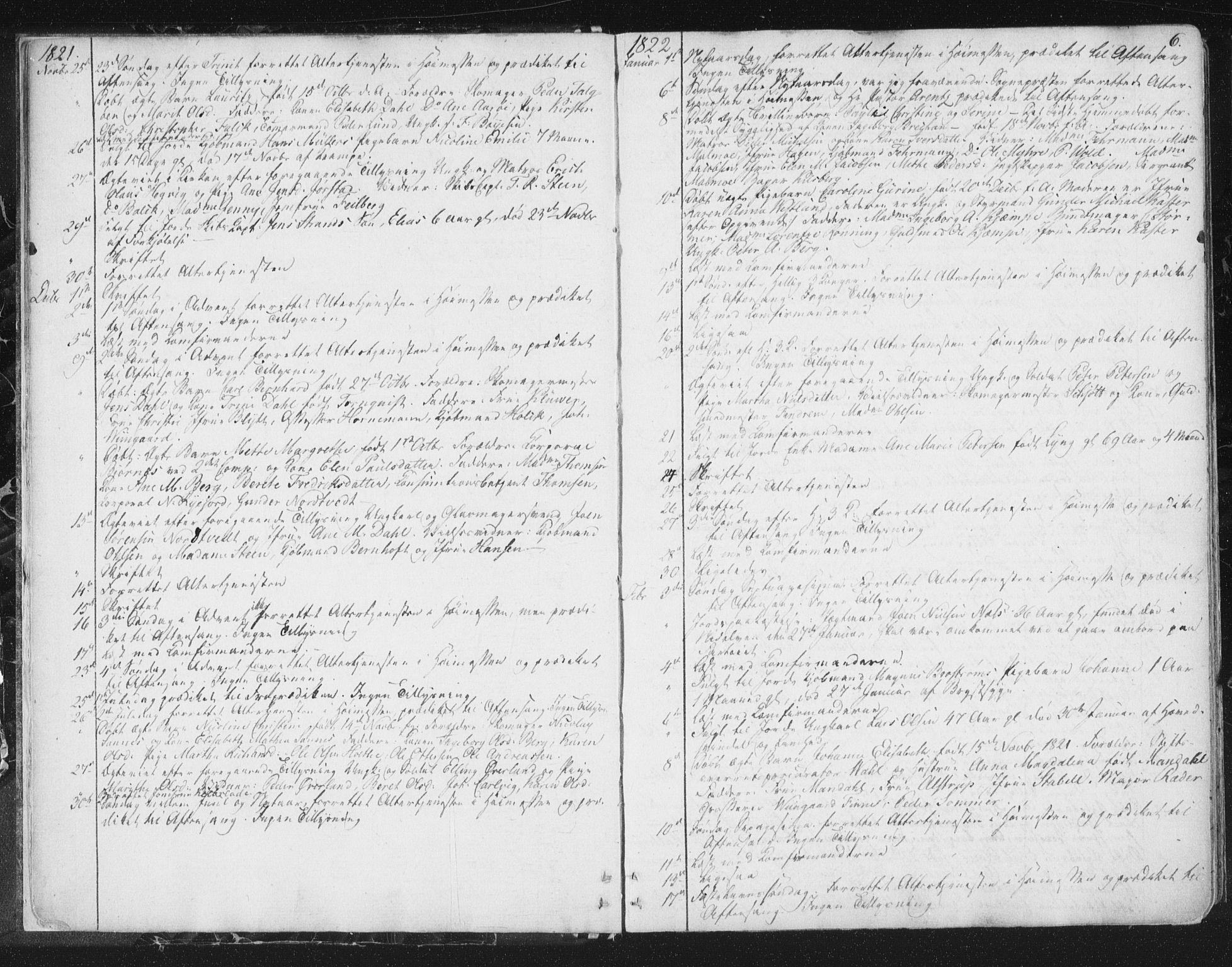 SAT, Ministerialprotokoller, klokkerbøker og fødselsregistre - Sør-Trøndelag, 602/L0127: Residerende kapellans bok nr. 602B01, 1821-1875, s. 6