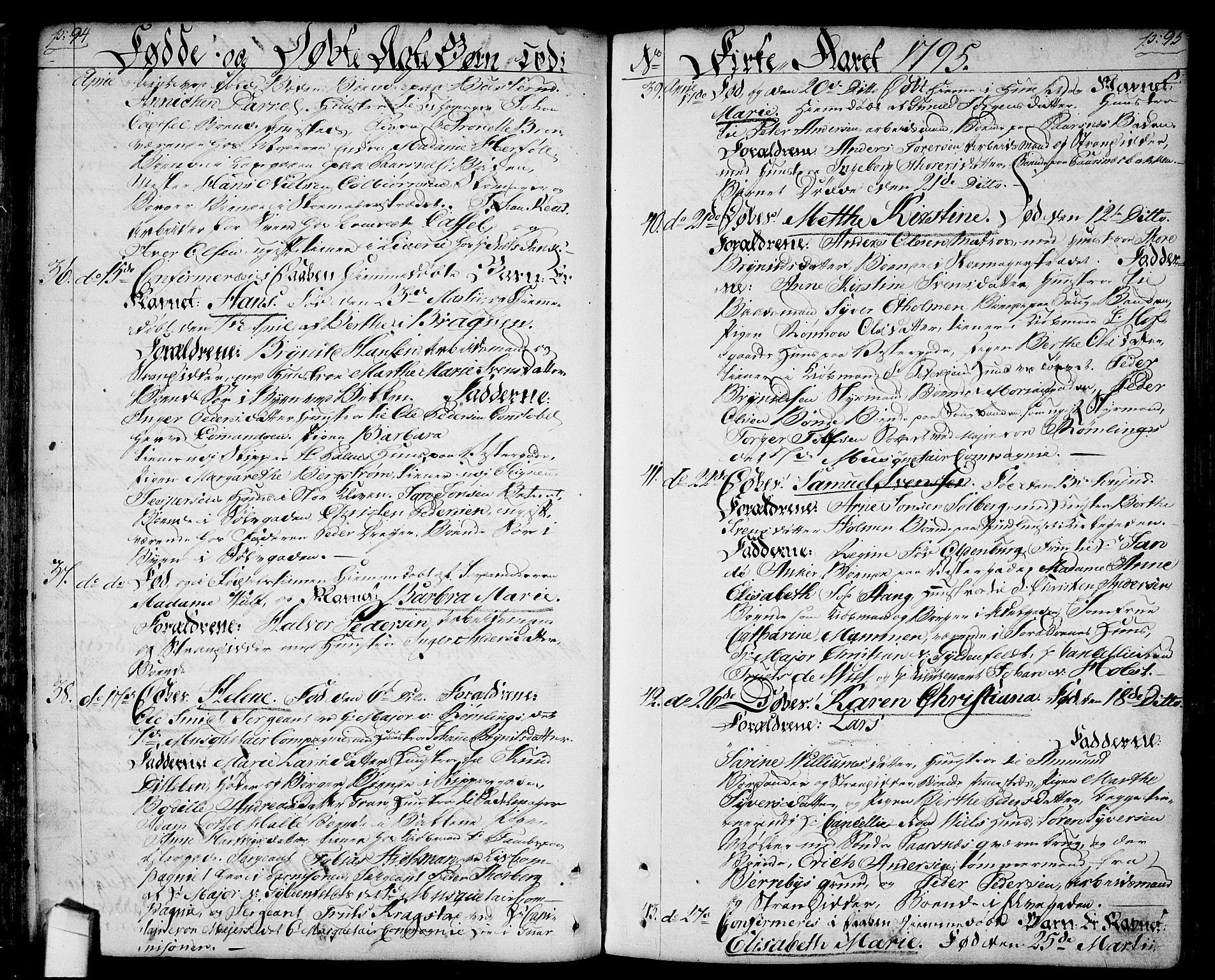 SAO, Halden prestekontor Kirkebøker, F/Fa/L0002: Ministerialbok nr. I 2, 1792-1812, s. 94-95