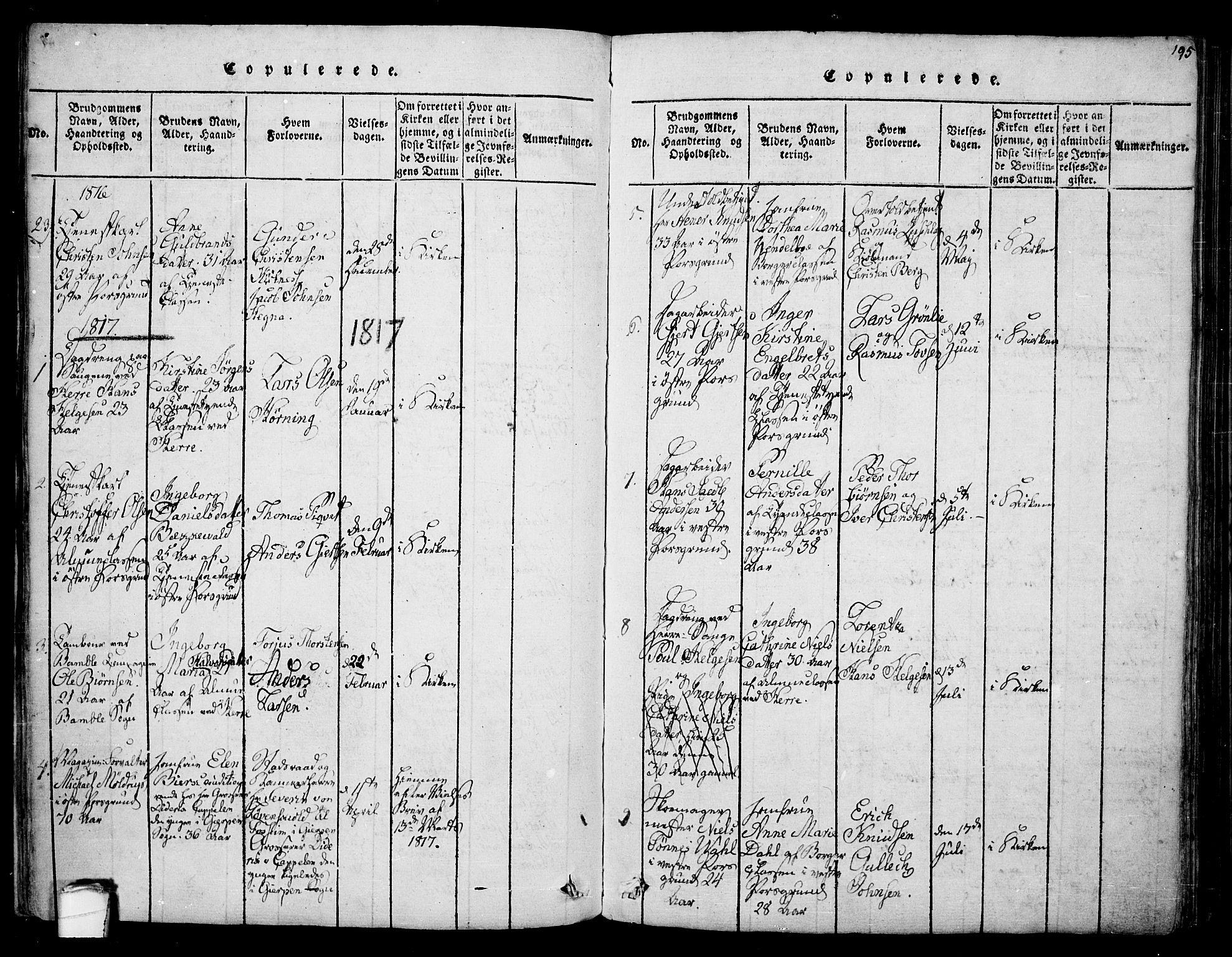 SAKO, Porsgrunn kirkebøker , F/Fa/L0004: Ministerialbok nr. 4, 1814-1828, s. 195