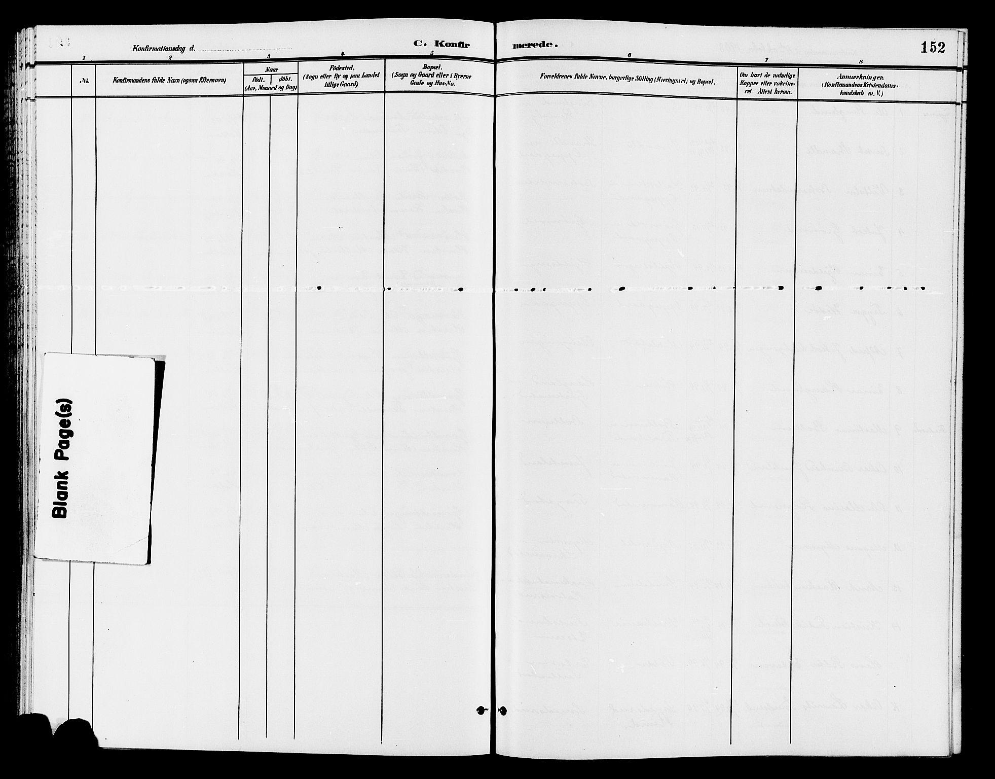SAH, Østre Toten prestekontor, Klokkerbok nr. 7, 1901-1912, s. 152