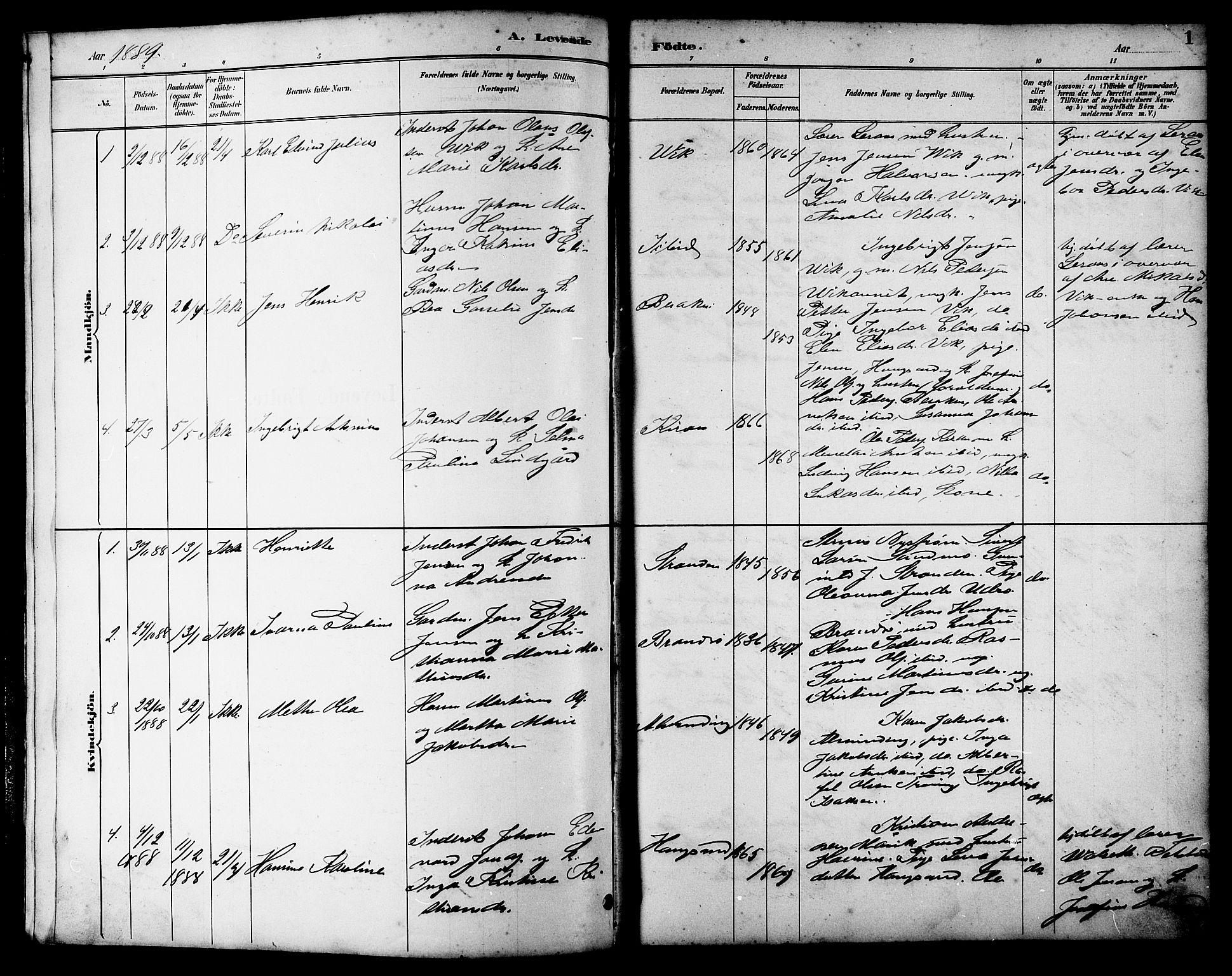 SAT, Ministerialprotokoller, klokkerbøker og fødselsregistre - Sør-Trøndelag, 657/L0716: Klokkerbok nr. 657C03, 1889-1904, s. 1