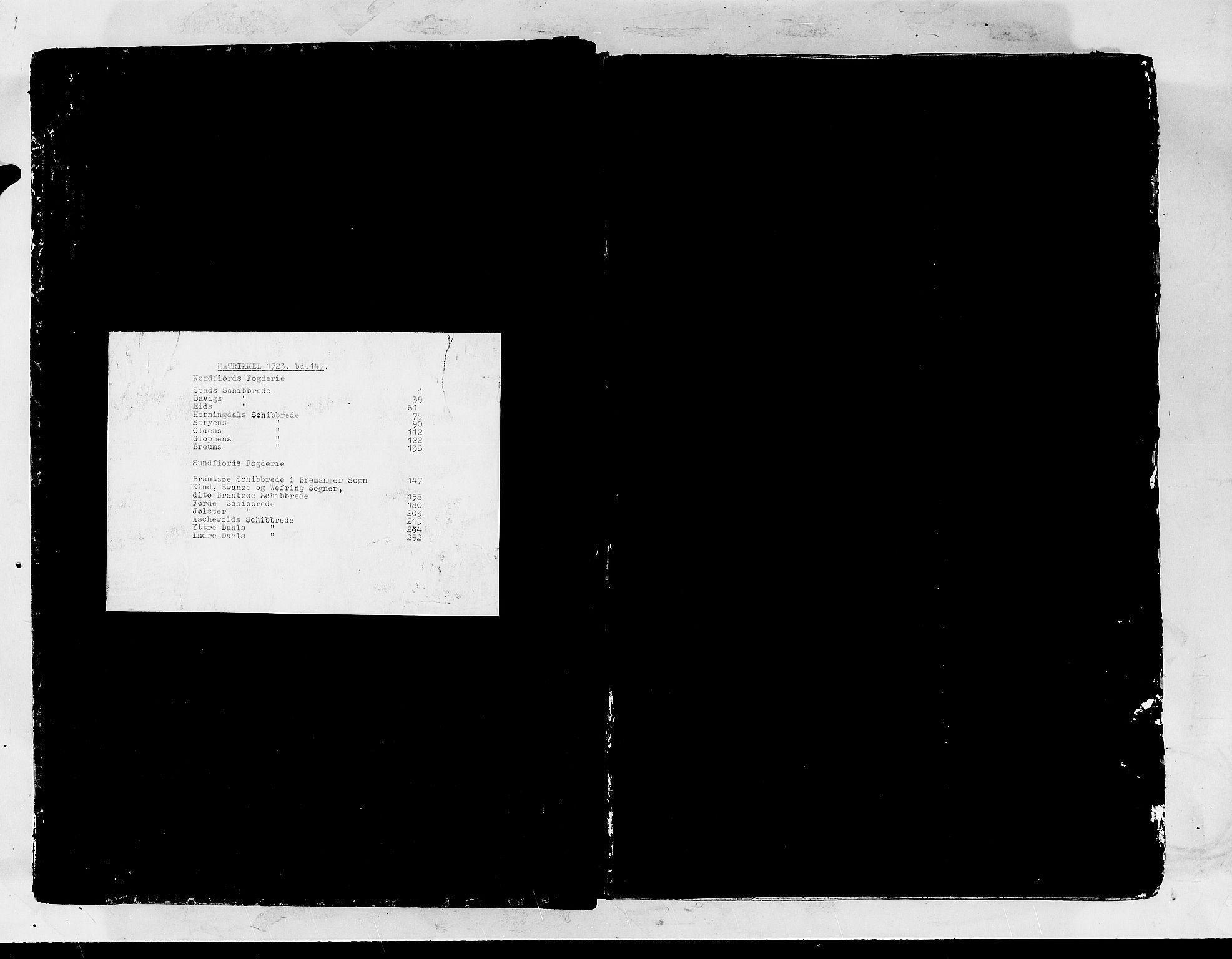 RA, Rentekammeret inntil 1814, Realistisk ordnet avdeling, N/Nb/Nbf/L0147: Sunnfjord og Nordfjord matrikkelprotokoll, 1723, s. upaginert
