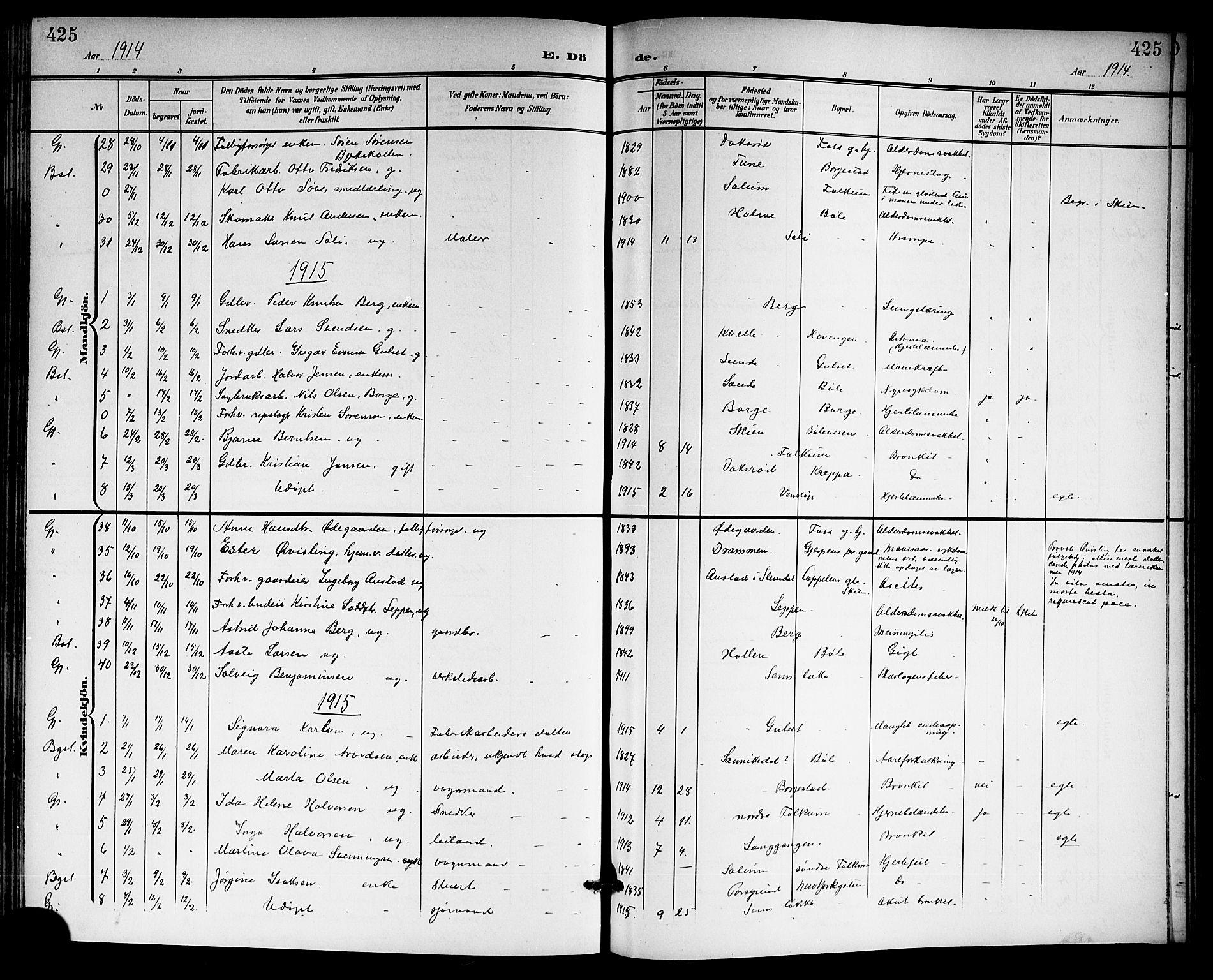SAKO, Gjerpen kirkebøker, G/Ga/L0003: Klokkerbok nr. I 3, 1901-1919, s. 425