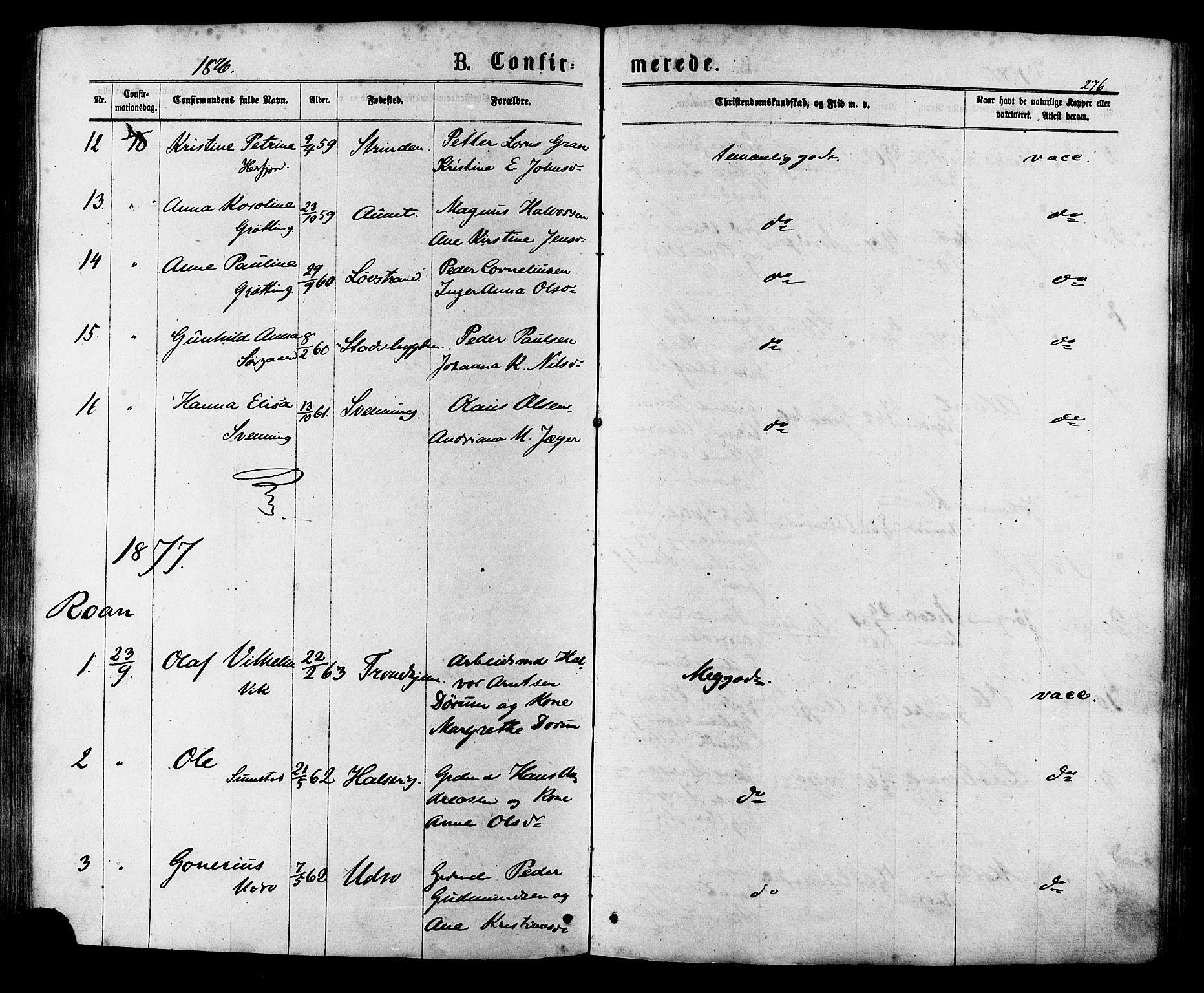 SAT, Ministerialprotokoller, klokkerbøker og fødselsregistre - Sør-Trøndelag, 657/L0706: Ministerialbok nr. 657A07, 1867-1878, s. 276