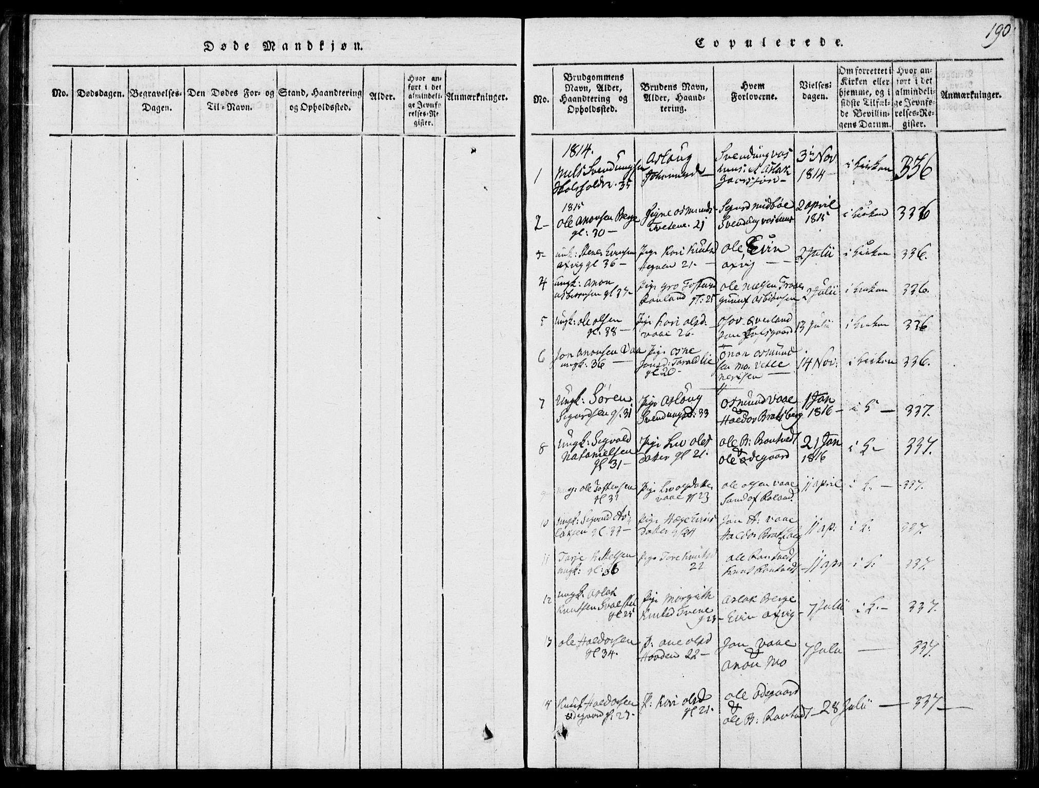 SAKO, Rauland kirkebøker, G/Ga/L0001: Klokkerbok nr. I 1, 1814-1843, s. 190
