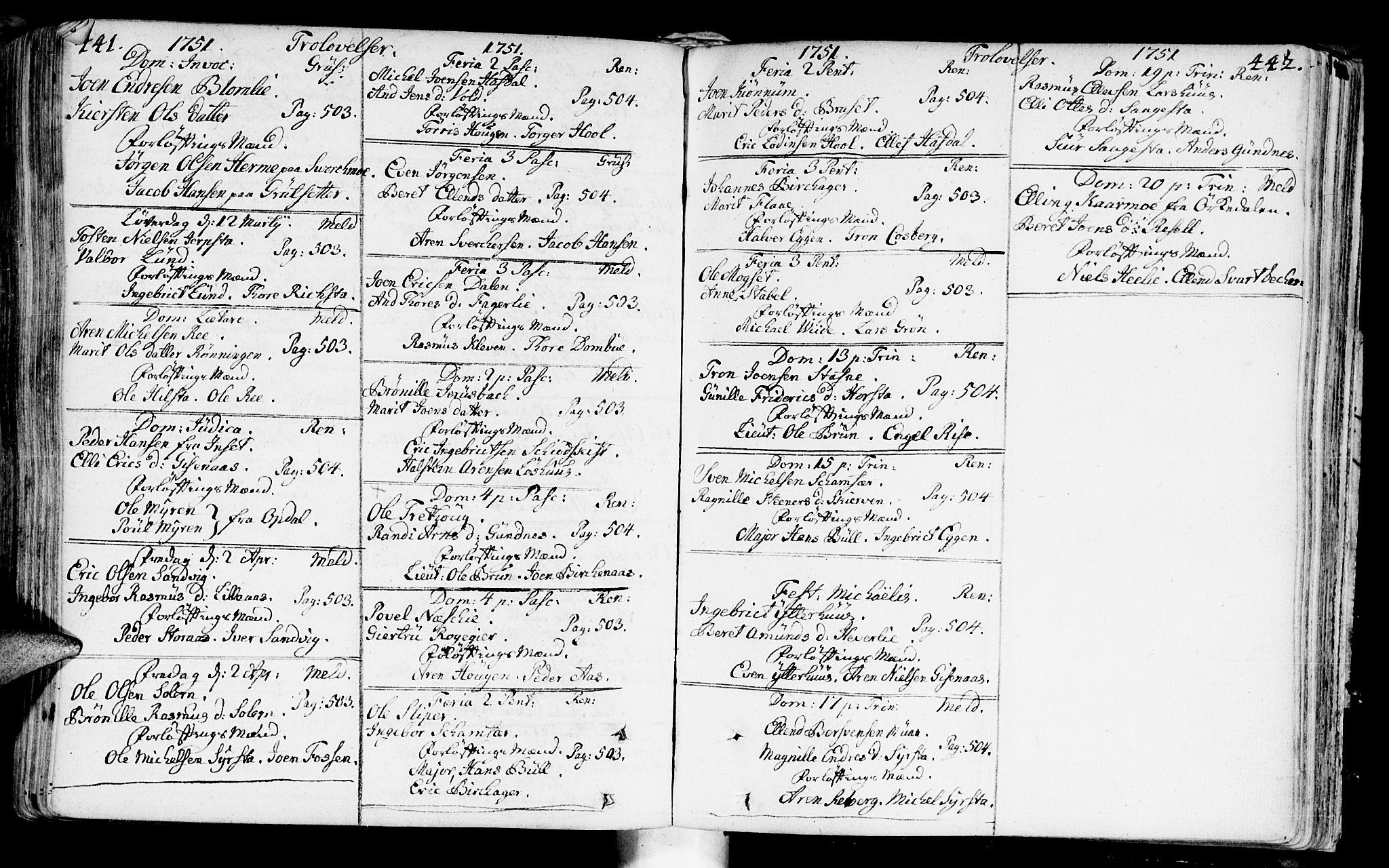 SAT, Ministerialprotokoller, klokkerbøker og fødselsregistre - Sør-Trøndelag, 672/L0850: Ministerialbok nr. 672A03, 1725-1751, s. 441-442