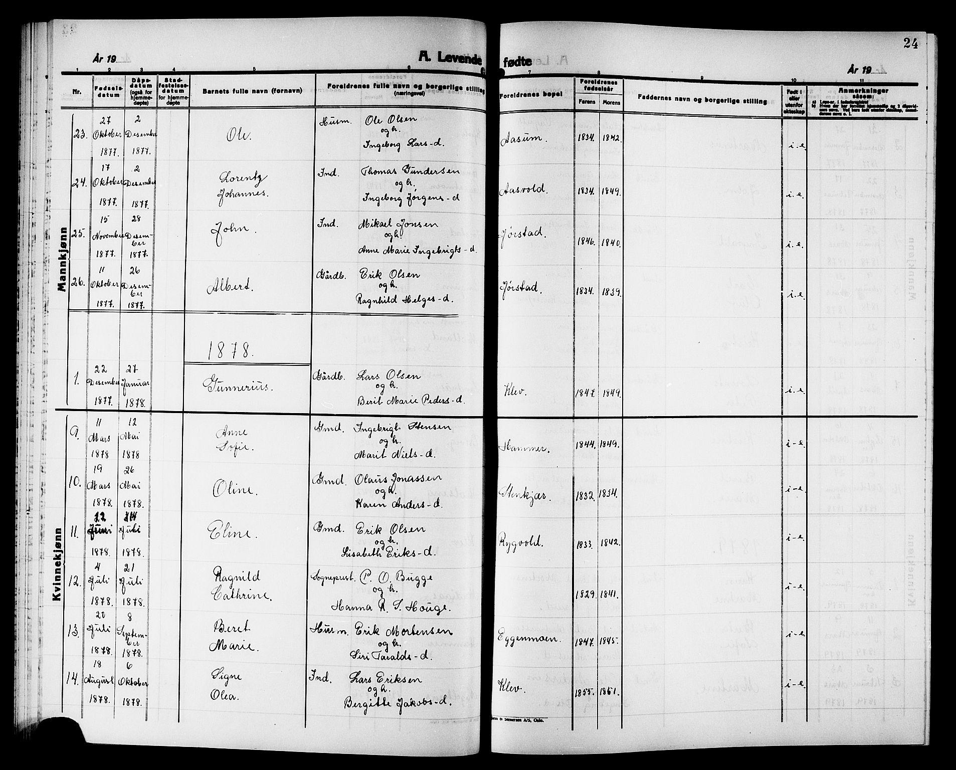 SAT, Ministerialprotokoller, klokkerbøker og fødselsregistre - Nord-Trøndelag, 749/L0486: Ministerialbok nr. 749D02, 1873-1887, s. 24