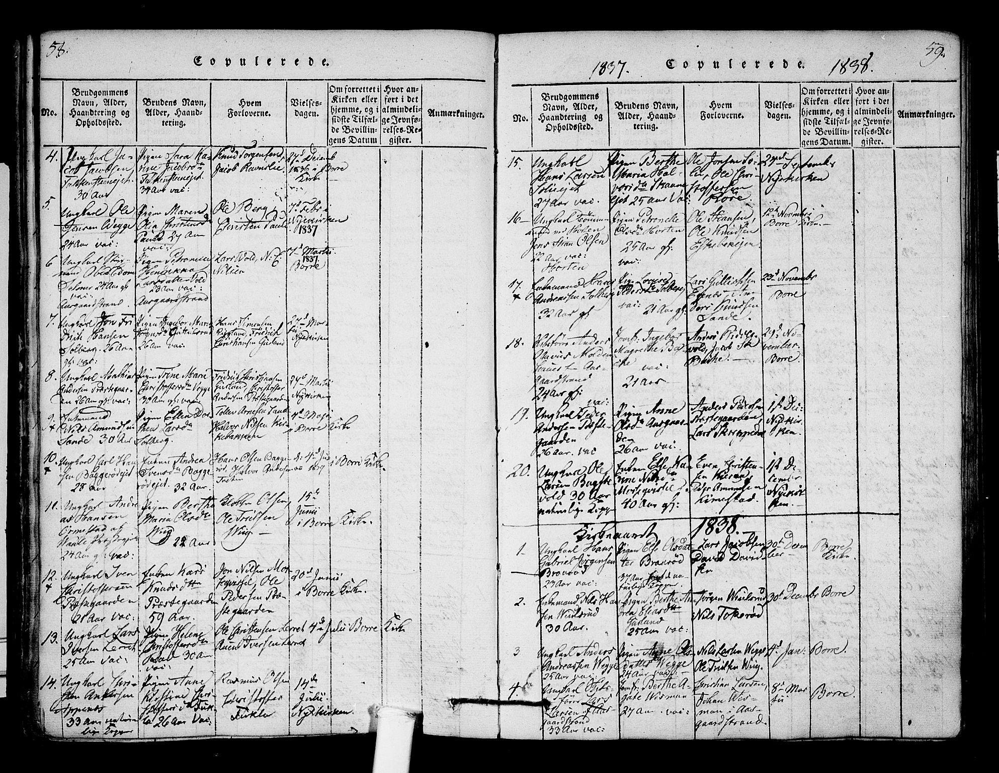 SAKO, Borre kirkebøker, F/Fa/L0004: Ministerialbok nr. I 4, 1815-1845, s. 58-59