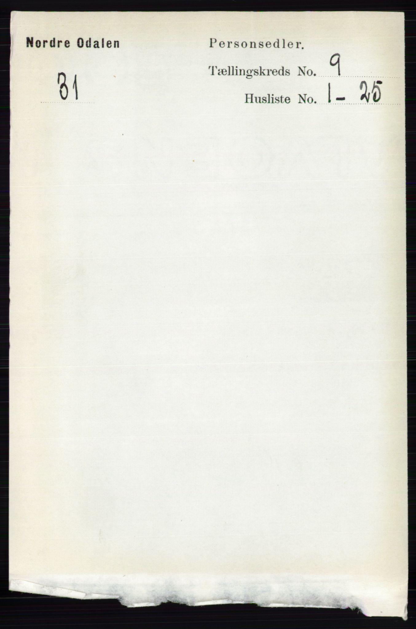 RA, Folketelling 1891 for 0418 Nord-Odal herred, 1891, s. 4003
