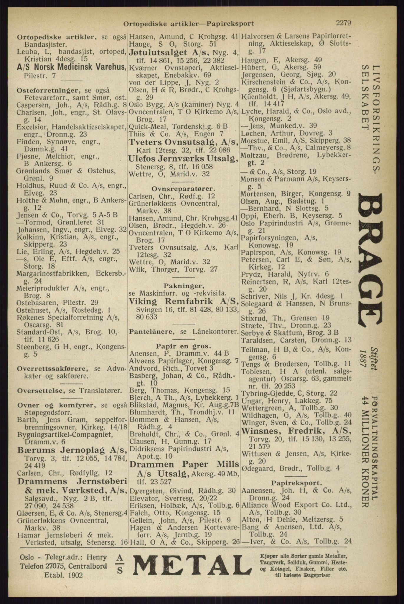 PUBL, Kristiania/Oslo adressebok, 1933, s. 2279