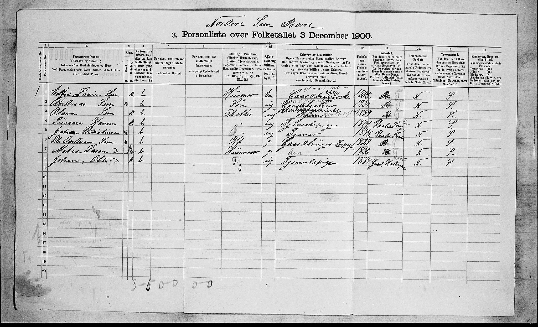 RA, Folketelling 1900 for 0717 Borre herred, 1900, s. 293