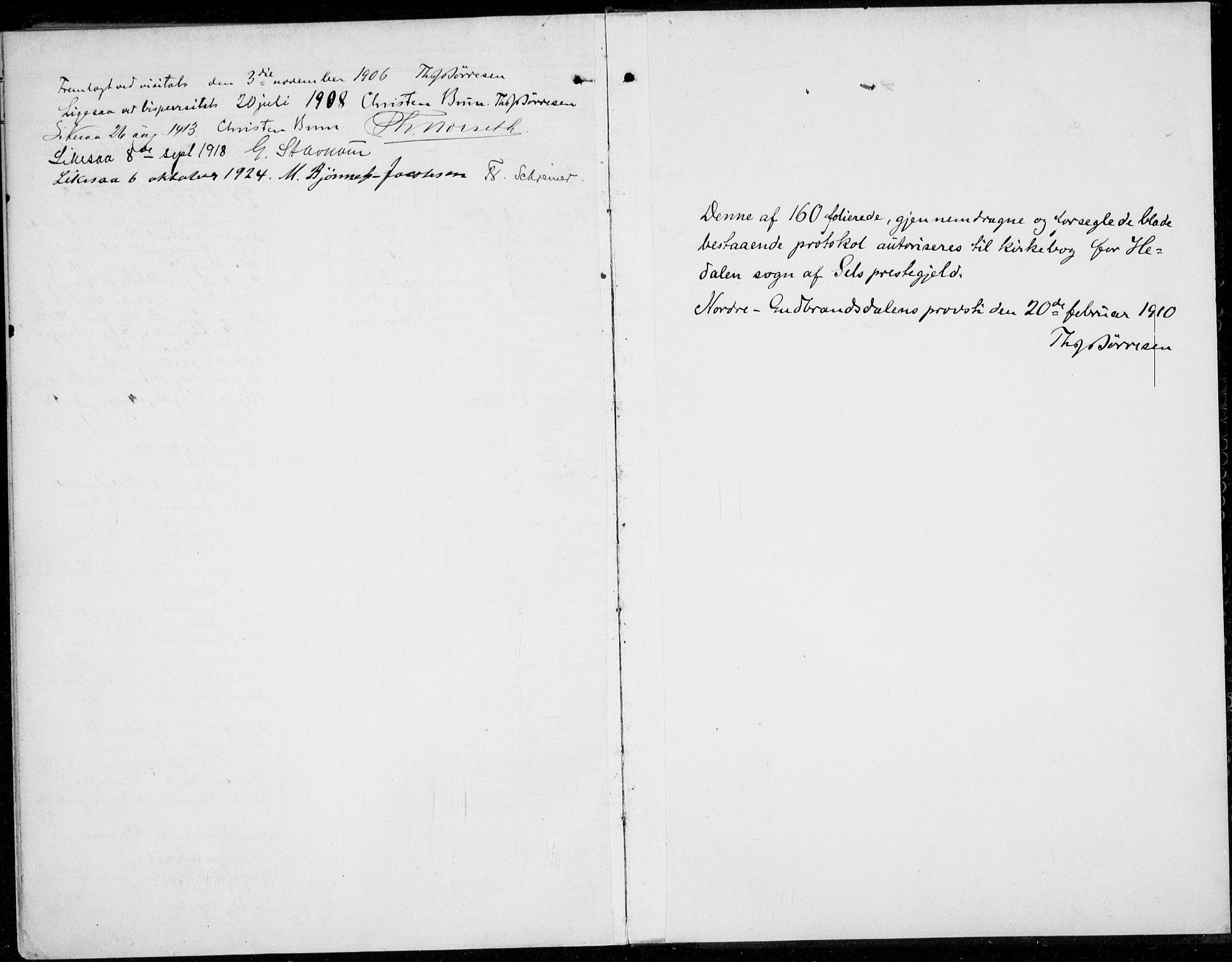 SAH, Sel prestekontor, Ministerialbok nr. 1, 1905-1922