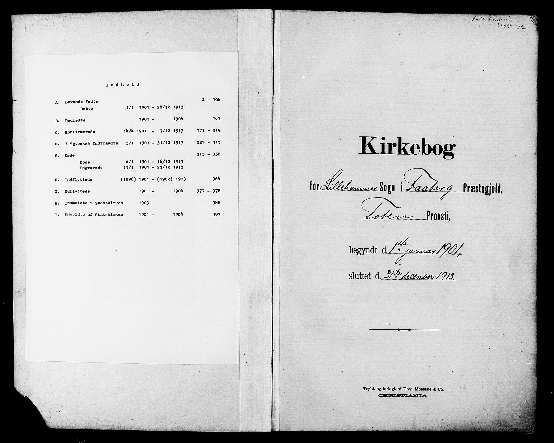 SAH, Lillehammer prestekontor, Klokkerbok nr. 1, 1901-1913