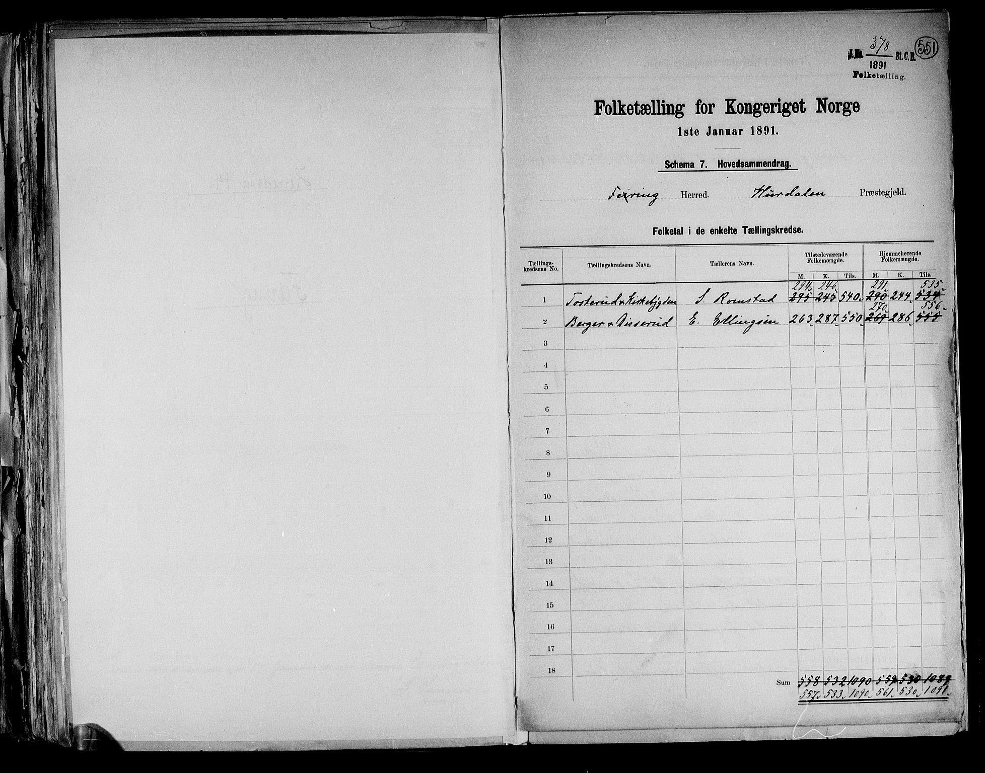 RA, Folketelling 1891 for 0240 Feiring herred, 1891, s. 2