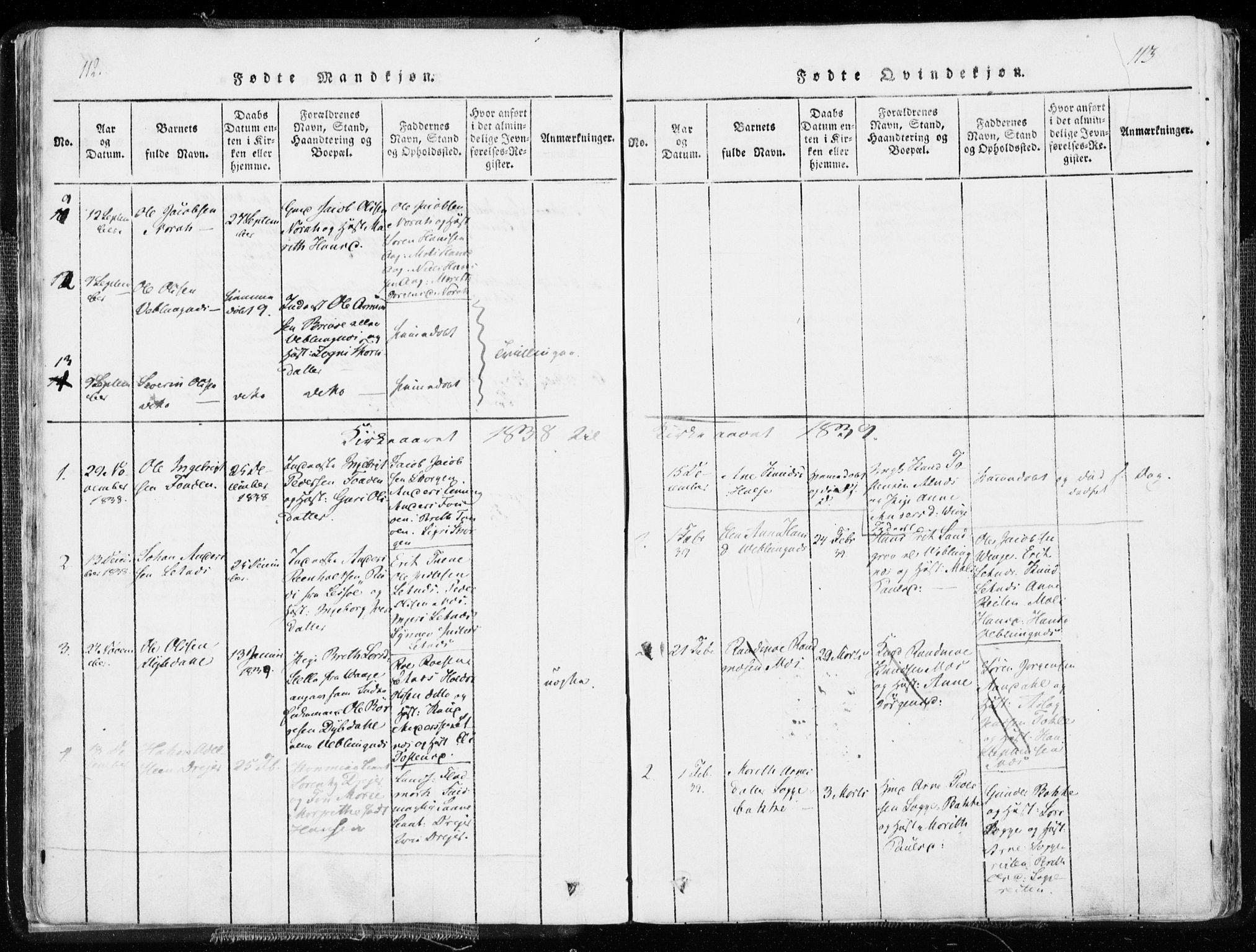 SAT, Ministerialprotokoller, klokkerbøker og fødselsregistre - Møre og Romsdal, 544/L0571: Ministerialbok nr. 544A04, 1818-1853, s. 112-113