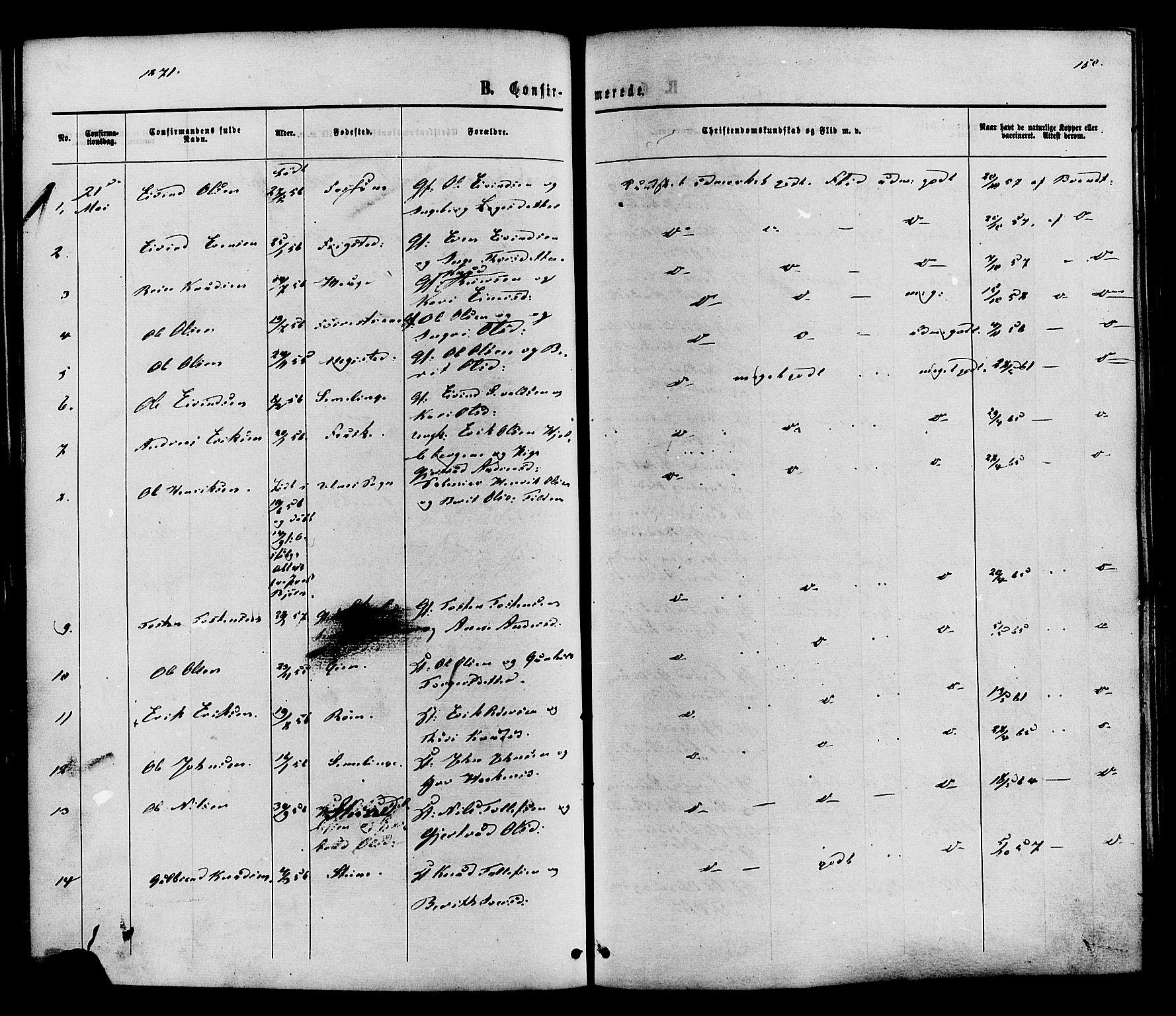 SAH, Vestre Slidre prestekontor, Ministerialbok nr. 3, 1865-1880, s. 150