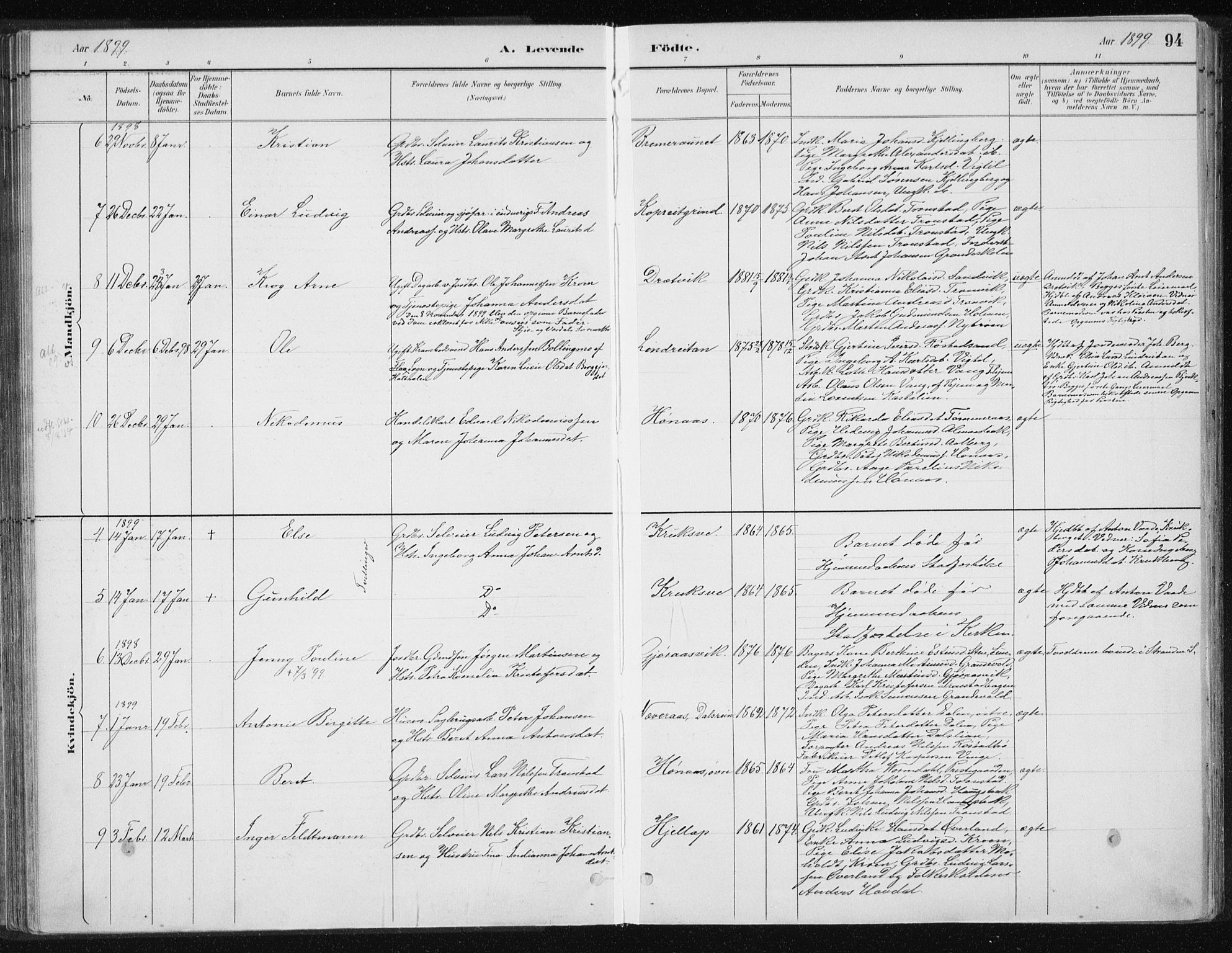 SAT, Ministerialprotokoller, klokkerbøker og fødselsregistre - Nord-Trøndelag, 701/L0010: Ministerialbok nr. 701A10, 1883-1899, s. 94