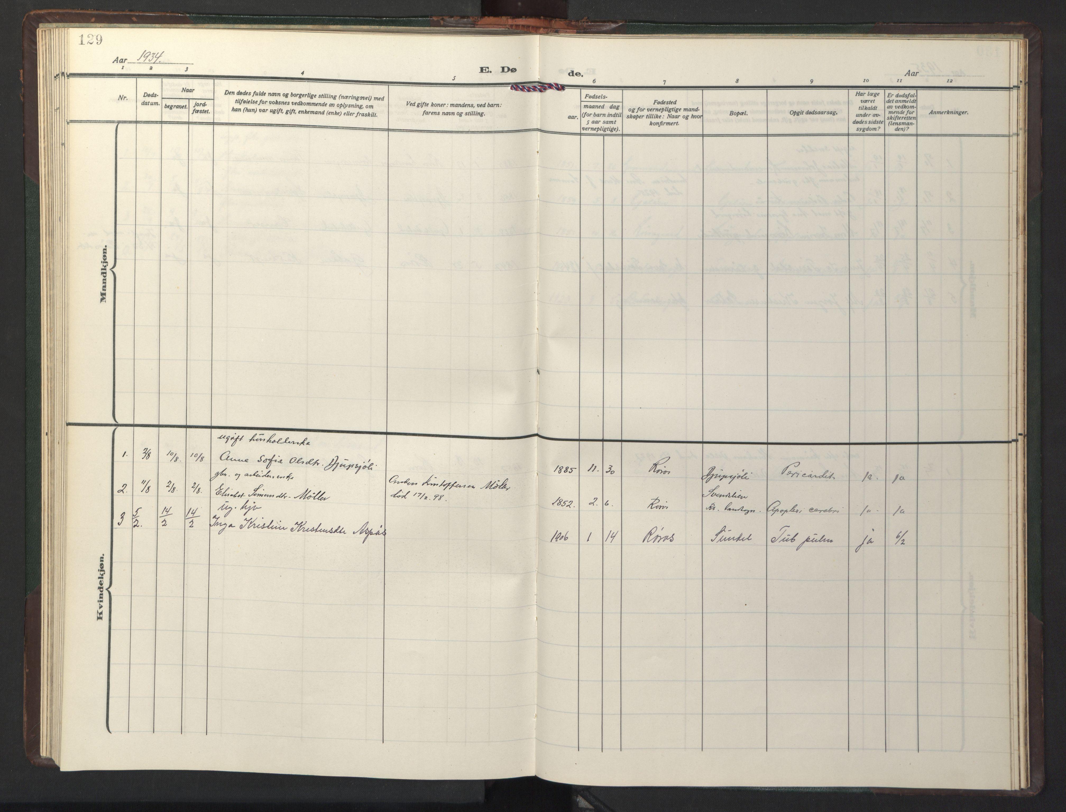 SAT, Ministerialprotokoller, klokkerbøker og fødselsregistre - Sør-Trøndelag, 681/L0944: Klokkerbok nr. 681C08, 1926-1954, s. 129