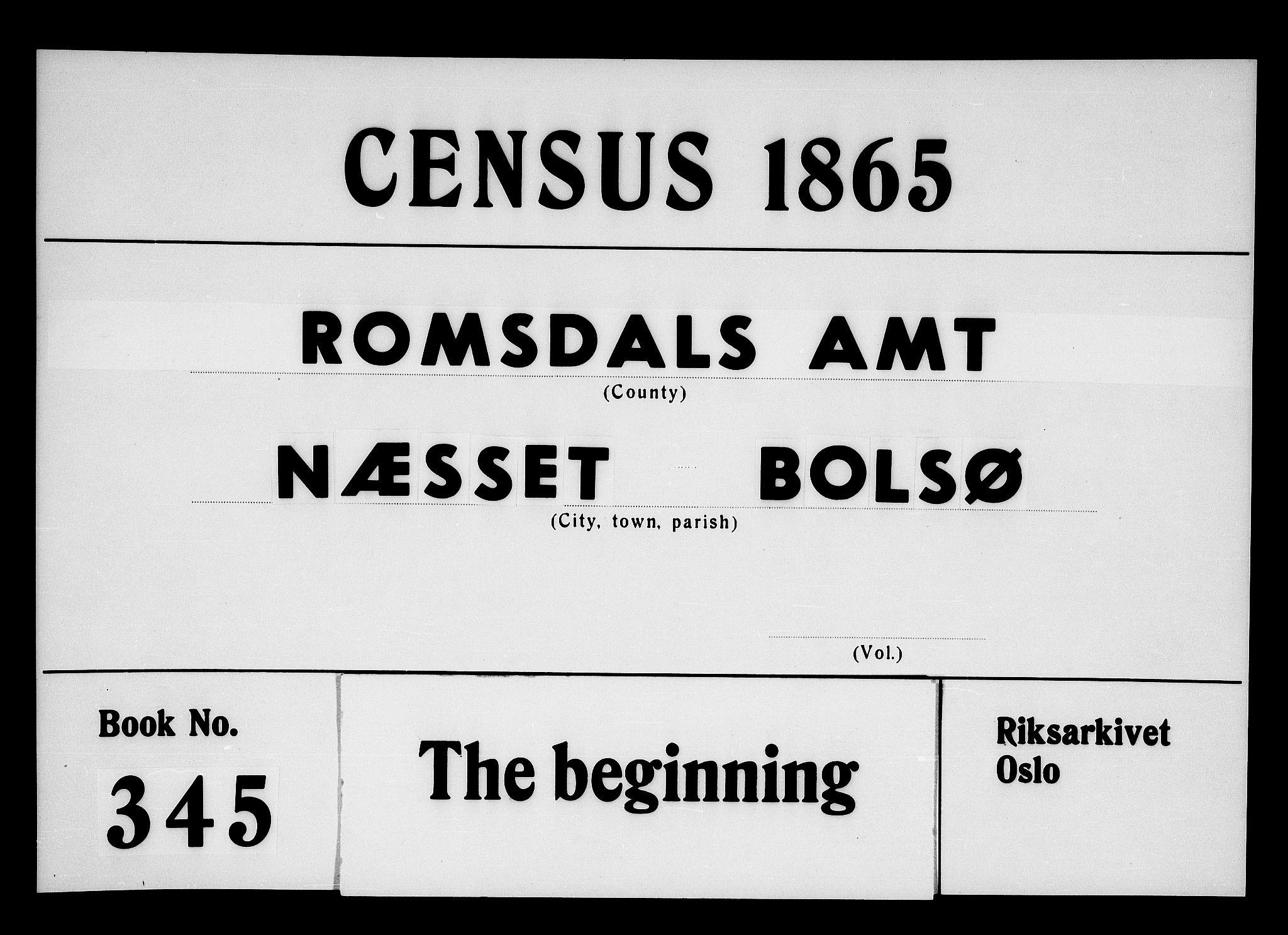 RA, Folketelling 1865 for 1543P Nesset prestegjeld, 1865, s. 1