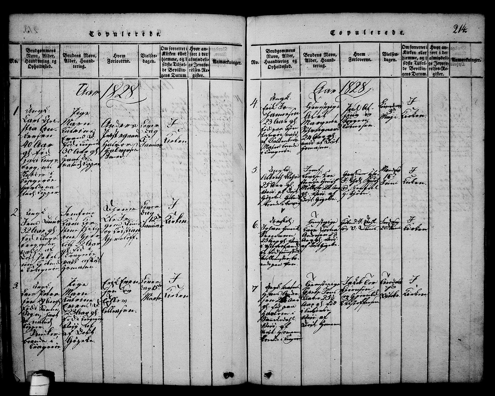 SAKO, Kragerø kirkebøker, G/Ga/L0002: Klokkerbok nr. 2, 1814-1831, s. 214
