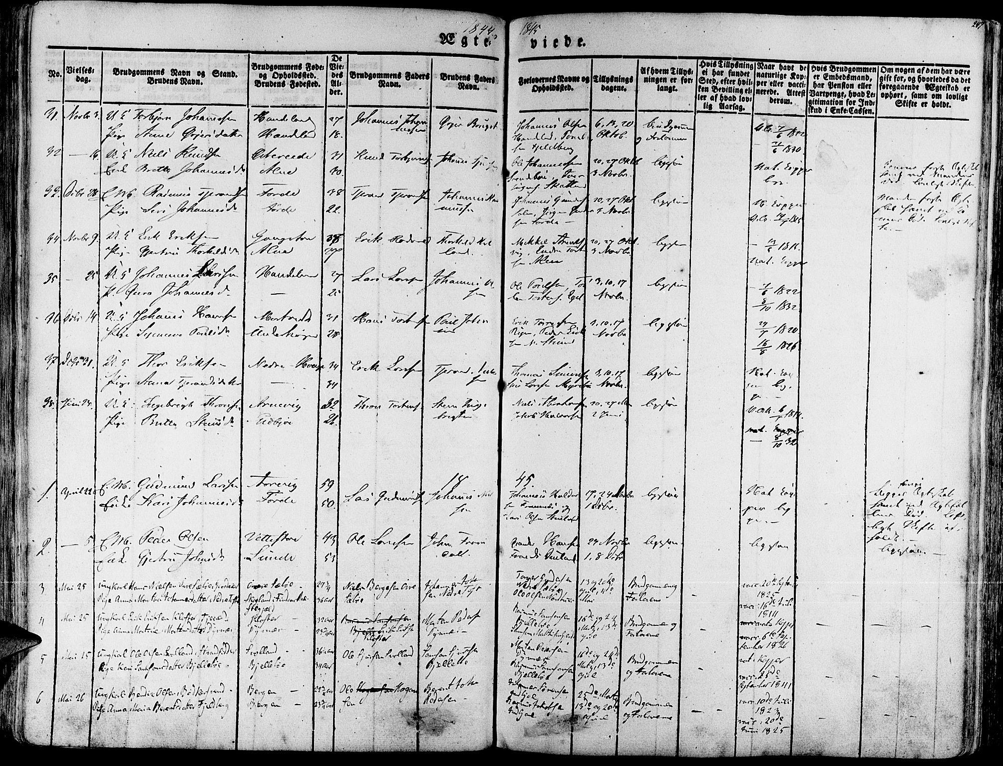 SAB, Fjelberg Sokneprestembete, H/Haa: Ministerialbok nr. A 6, 1835-1851, s. 247