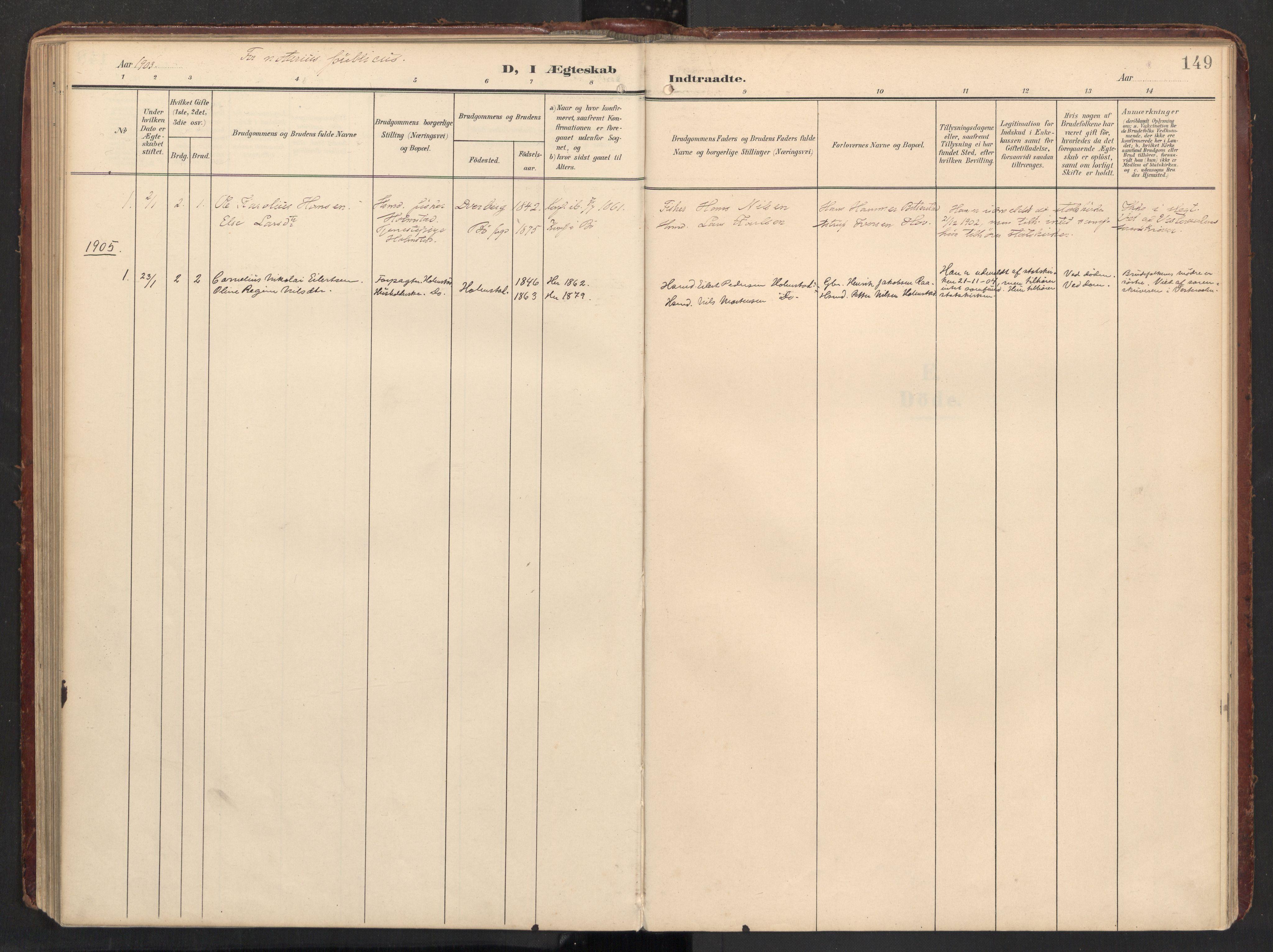 SAT, Ministerialprotokoller, klokkerbøker og fødselsregistre - Nordland, 890/L1287: Ministerialbok nr. 890A02, 1903-1915, s. 149