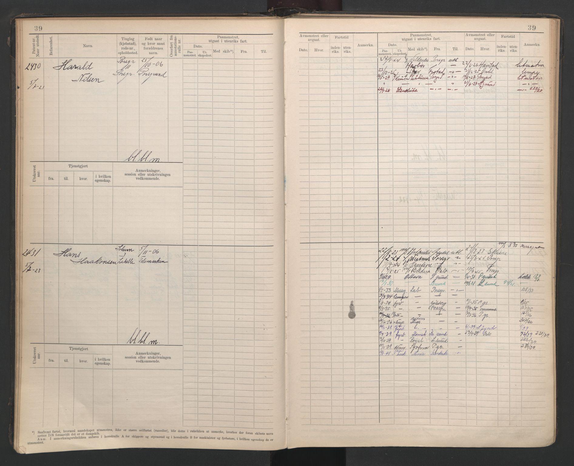 SAKO, Porsgrunn innrulleringskontor, F/Fb/L0007: Annotasjonsrulle, 1926-1948, s. 38