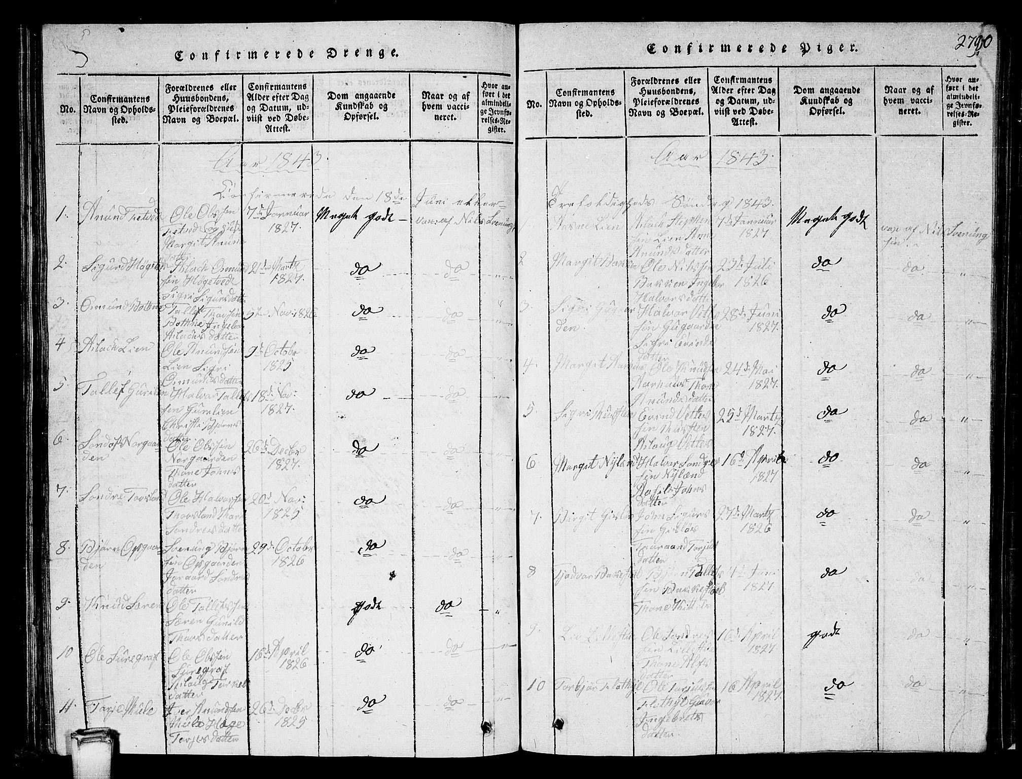SAKO, Vinje kirkebøker, G/Ga/L0001: Klokkerbok nr. I 1, 1814-1843, s. 279