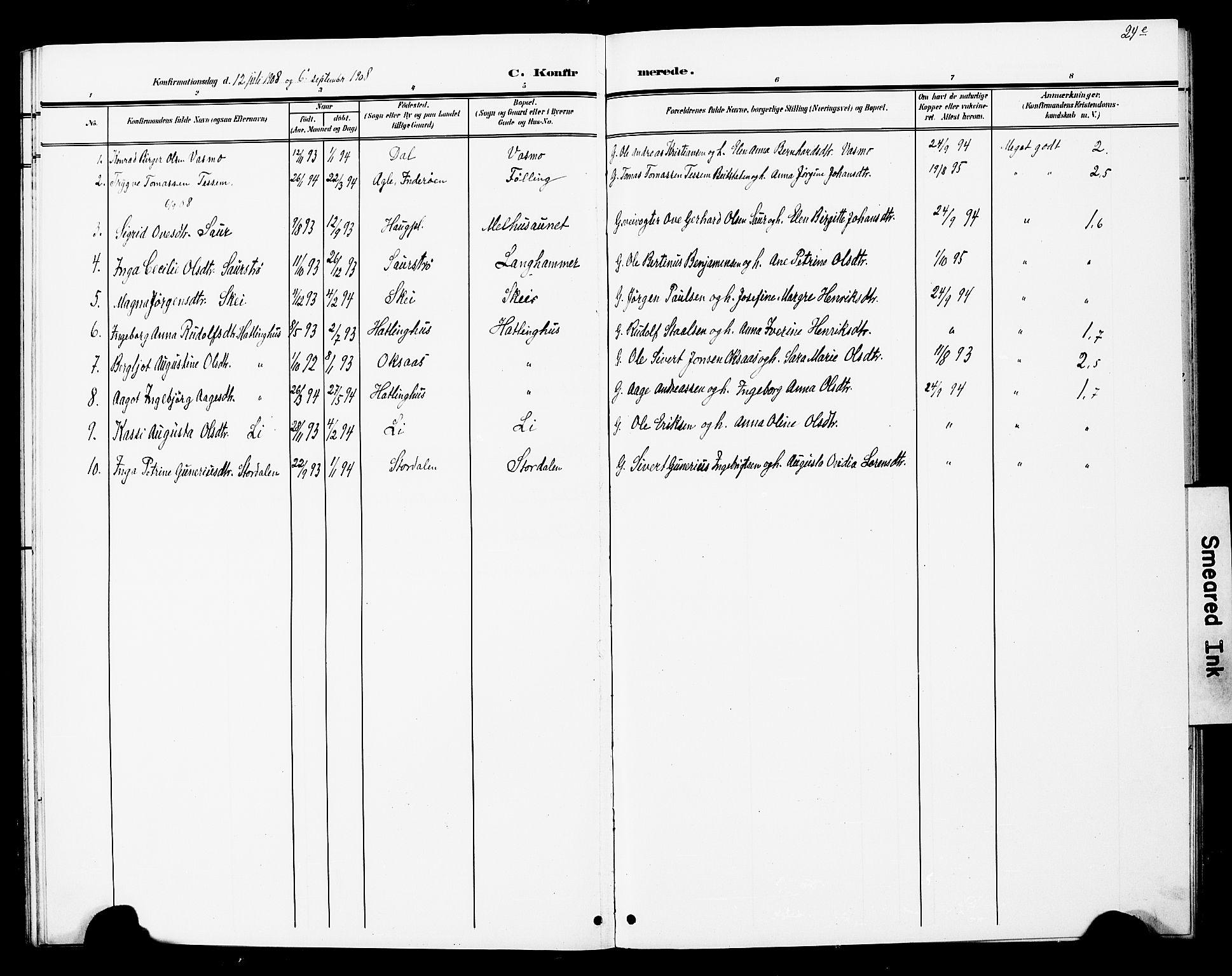 SAT, Ministerialprotokoller, klokkerbøker og fødselsregistre - Nord-Trøndelag, 748/L0464: Ministerialbok nr. 748A01, 1900-1908, s. 24e