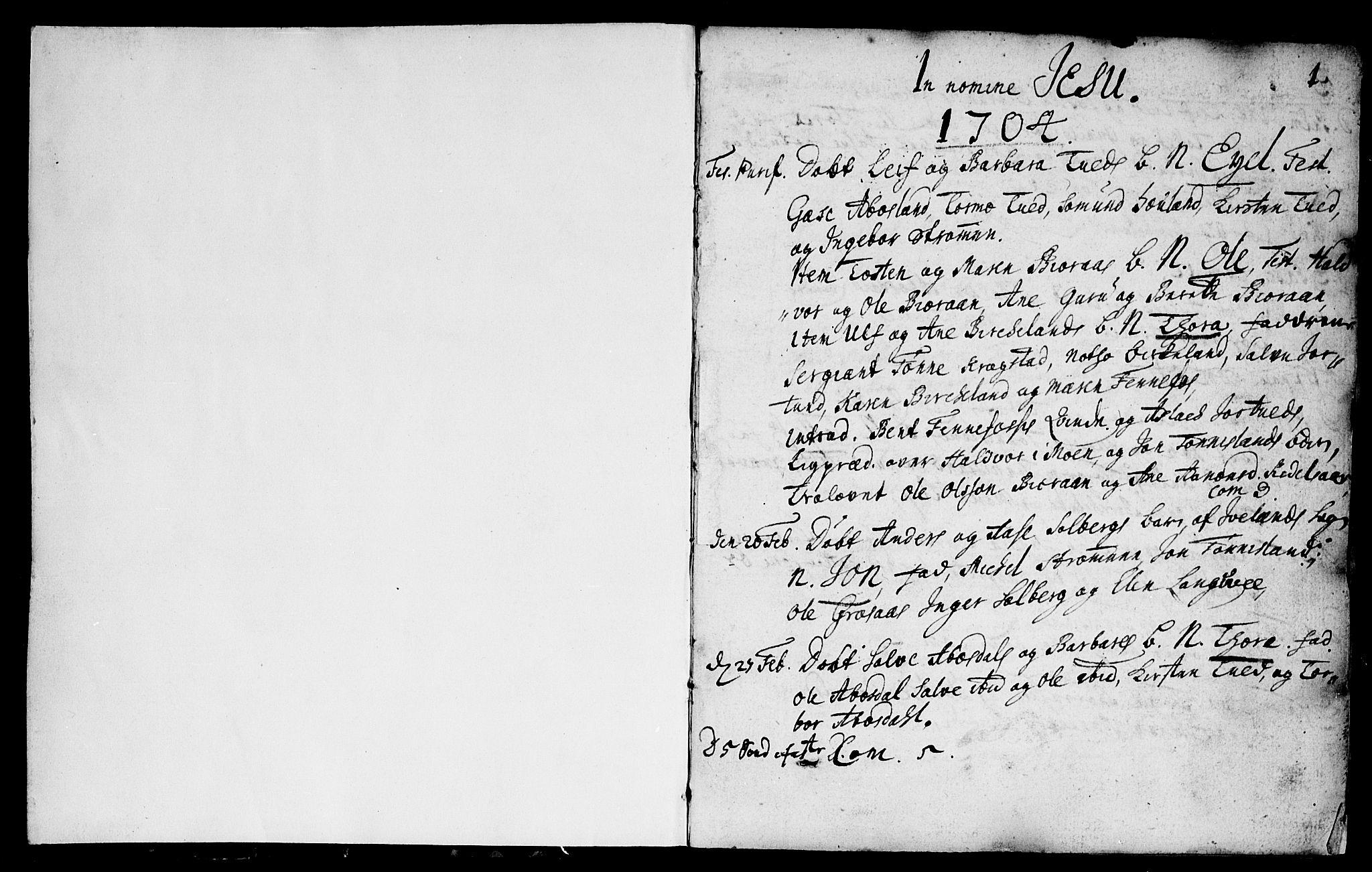 SAK, Evje sokneprestkontor, F/Fa/Fab/L0001: Ministerialbok nr. A 1, 1704-1764, s. 0-1