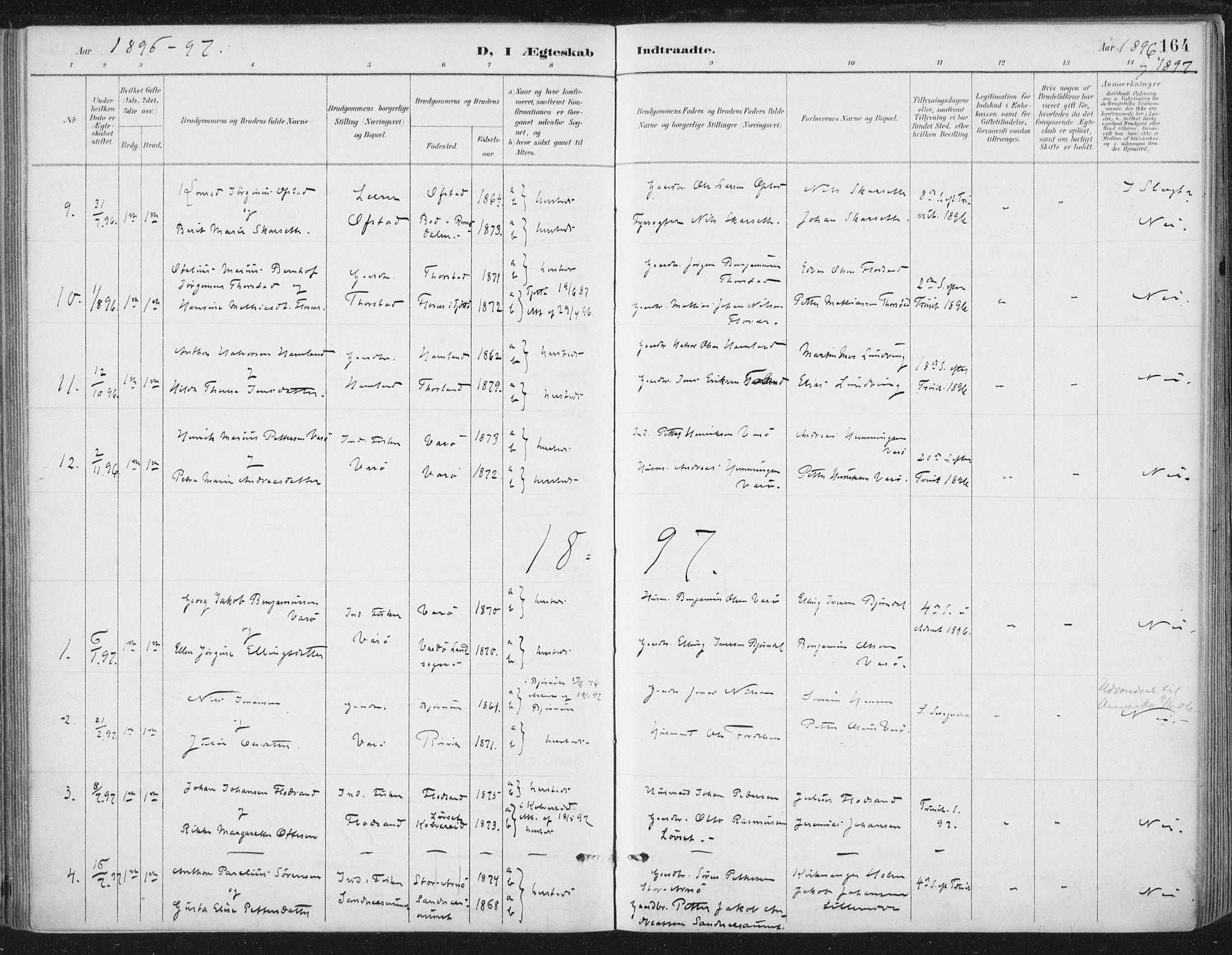 SAT, Ministerialprotokoller, klokkerbøker og fødselsregistre - Nord-Trøndelag, 784/L0673: Ministerialbok nr. 784A08, 1888-1899, s. 164