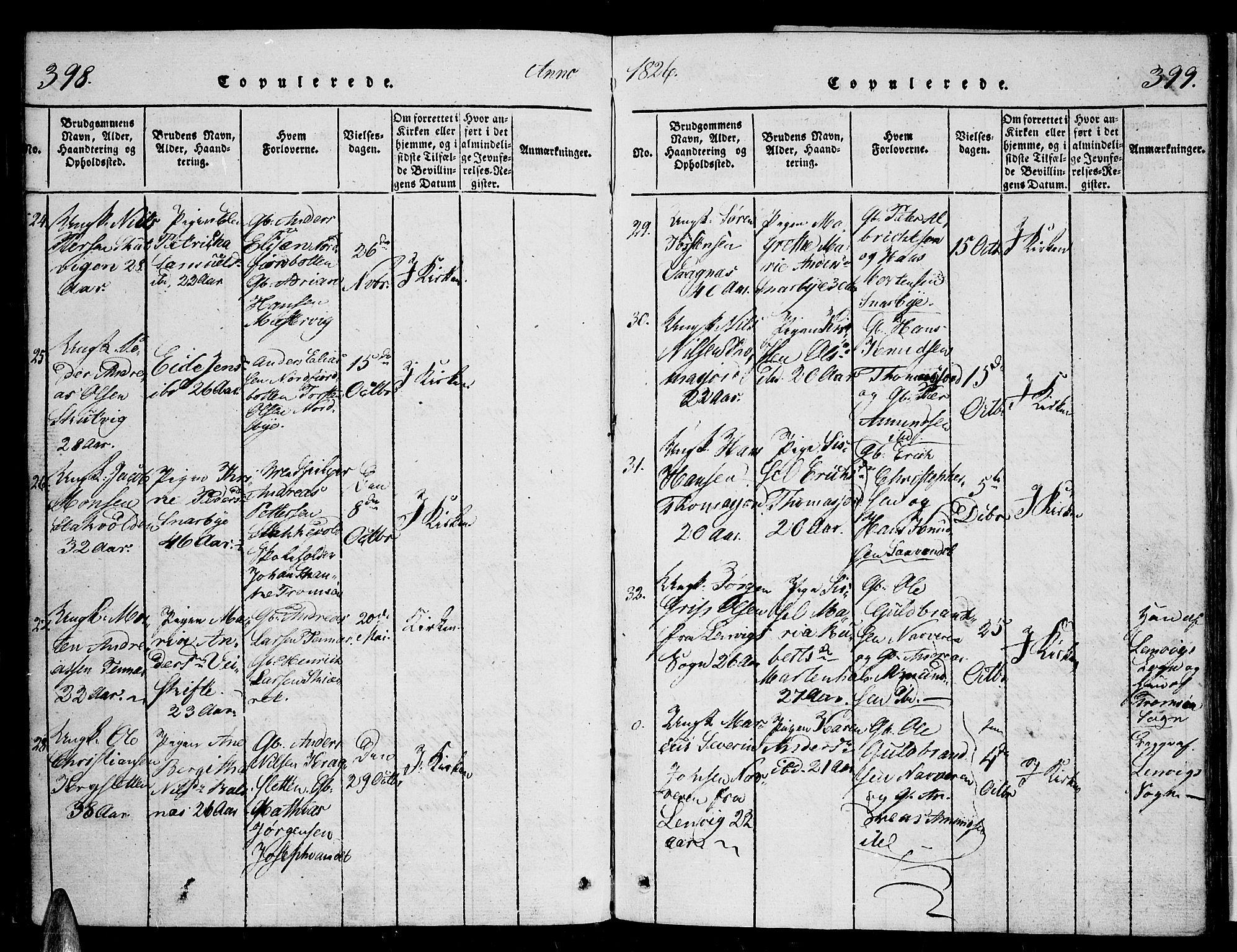 SATØ, Tromsø sokneprestkontor/stiftsprosti/domprosti, G/Ga/L0007kirke: Ministerialbok nr. 7, 1821-1828, s. 398-399