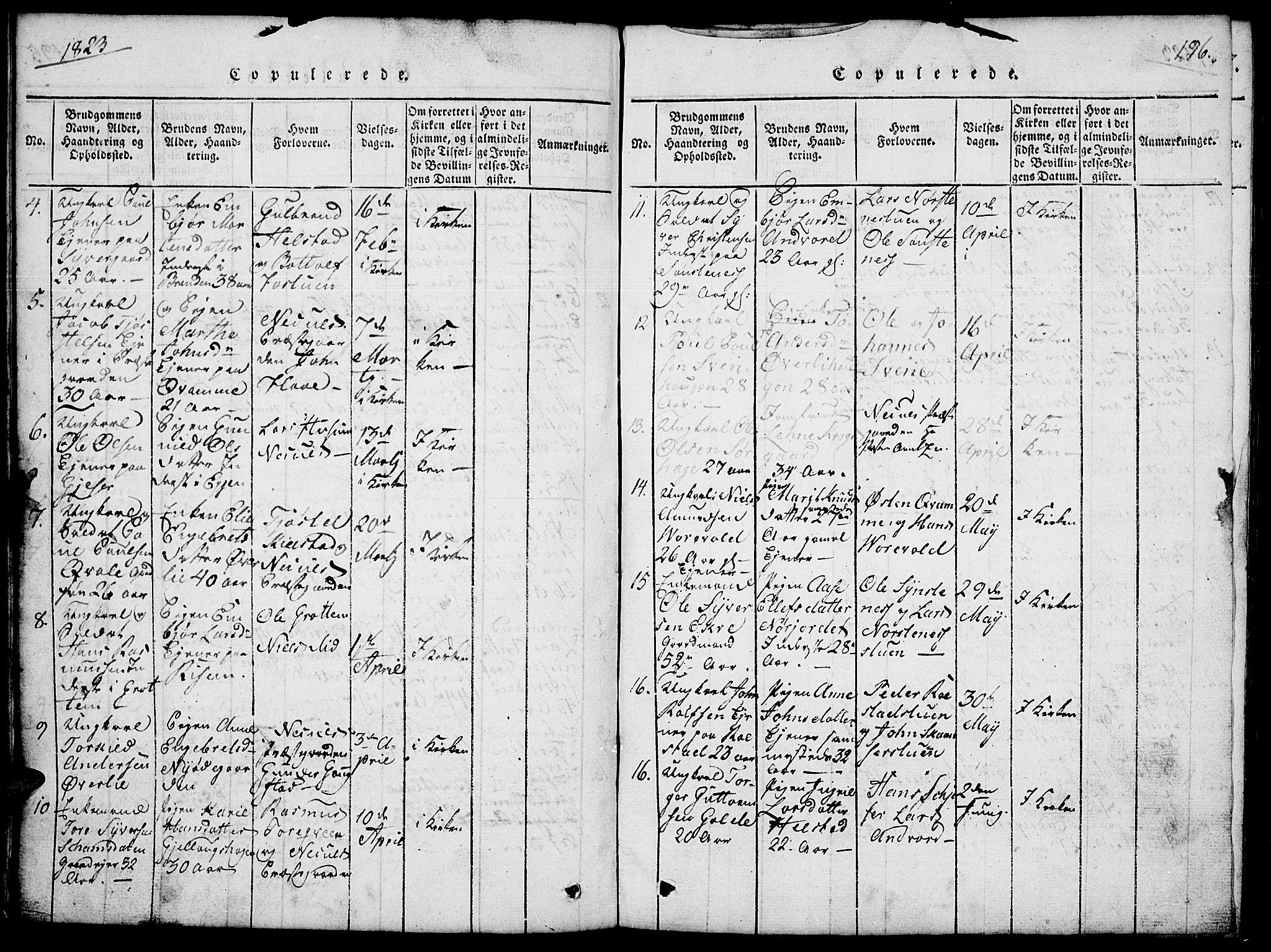SAH, Lom prestekontor, L/L0001: Klokkerbok nr. 1, 1815-1836, s. 196