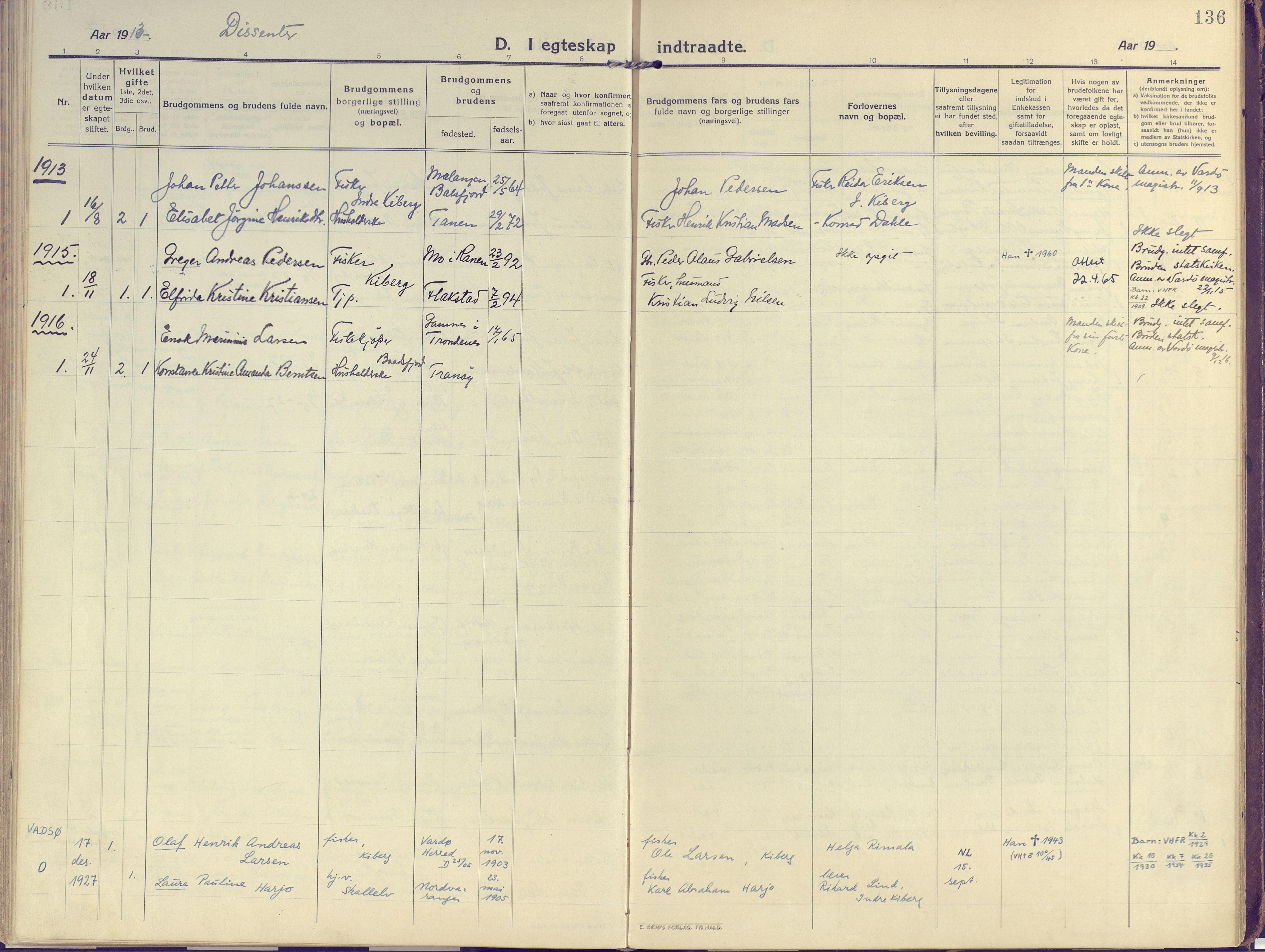SATØ, Vardø sokneprestkontor, H/Ha/L0013kirke: Ministerialbok nr. 13, 1912-1928, s. 136