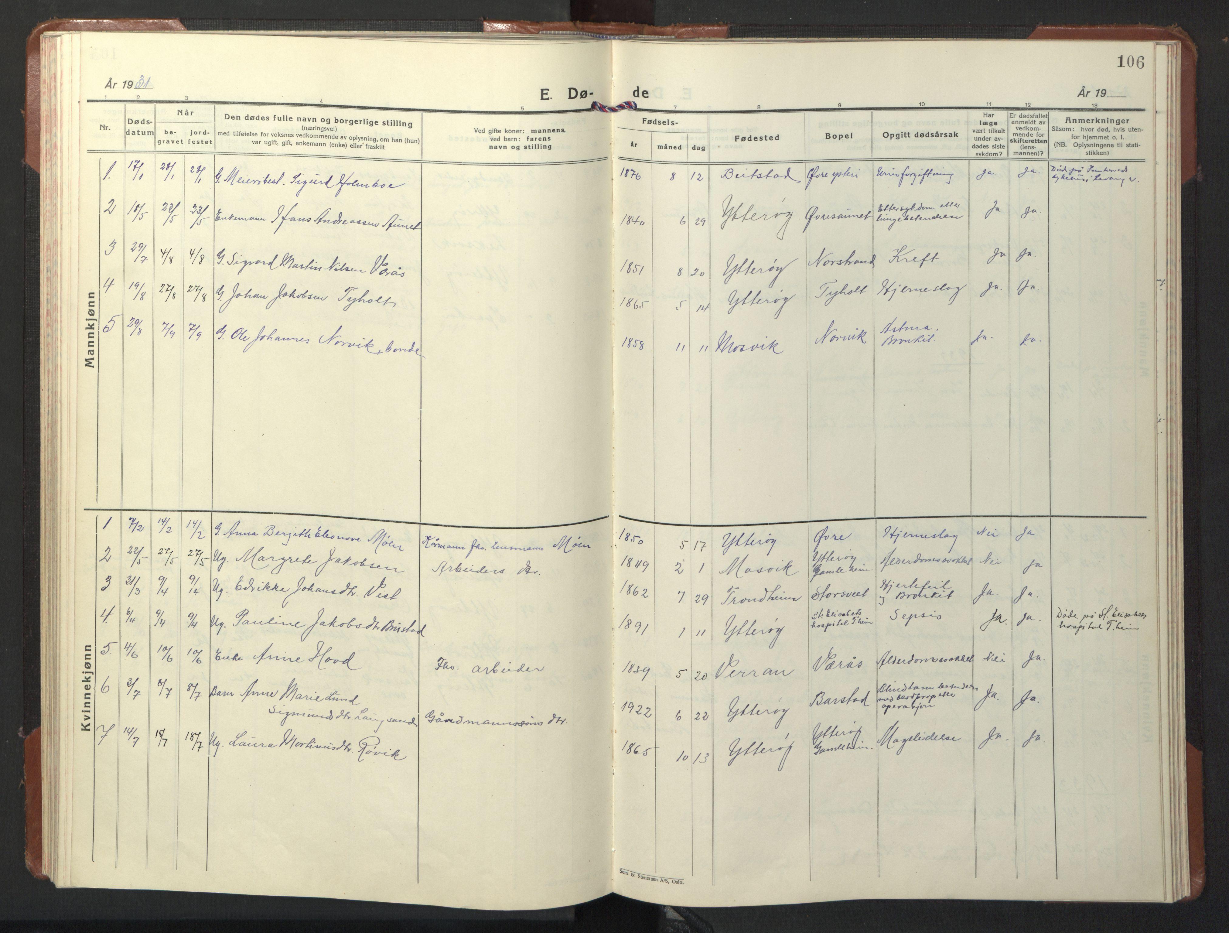 SAT, Ministerialprotokoller, klokkerbøker og fødselsregistre - Nord-Trøndelag, 722/L0227: Klokkerbok nr. 722C03, 1928-1958, s. 106