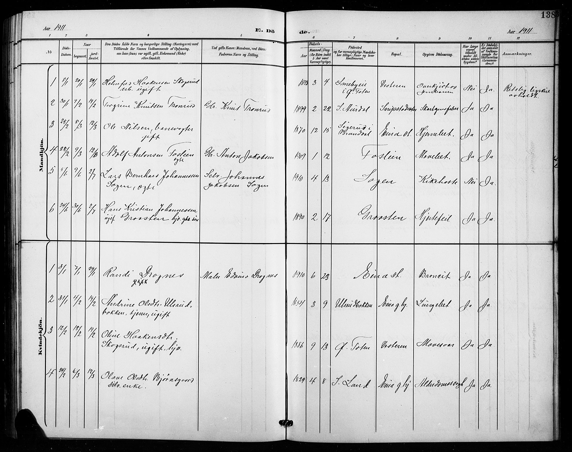 SAH, Vestre Toten prestekontor, Klokkerbok nr. 16, 1901-1915, s. 138