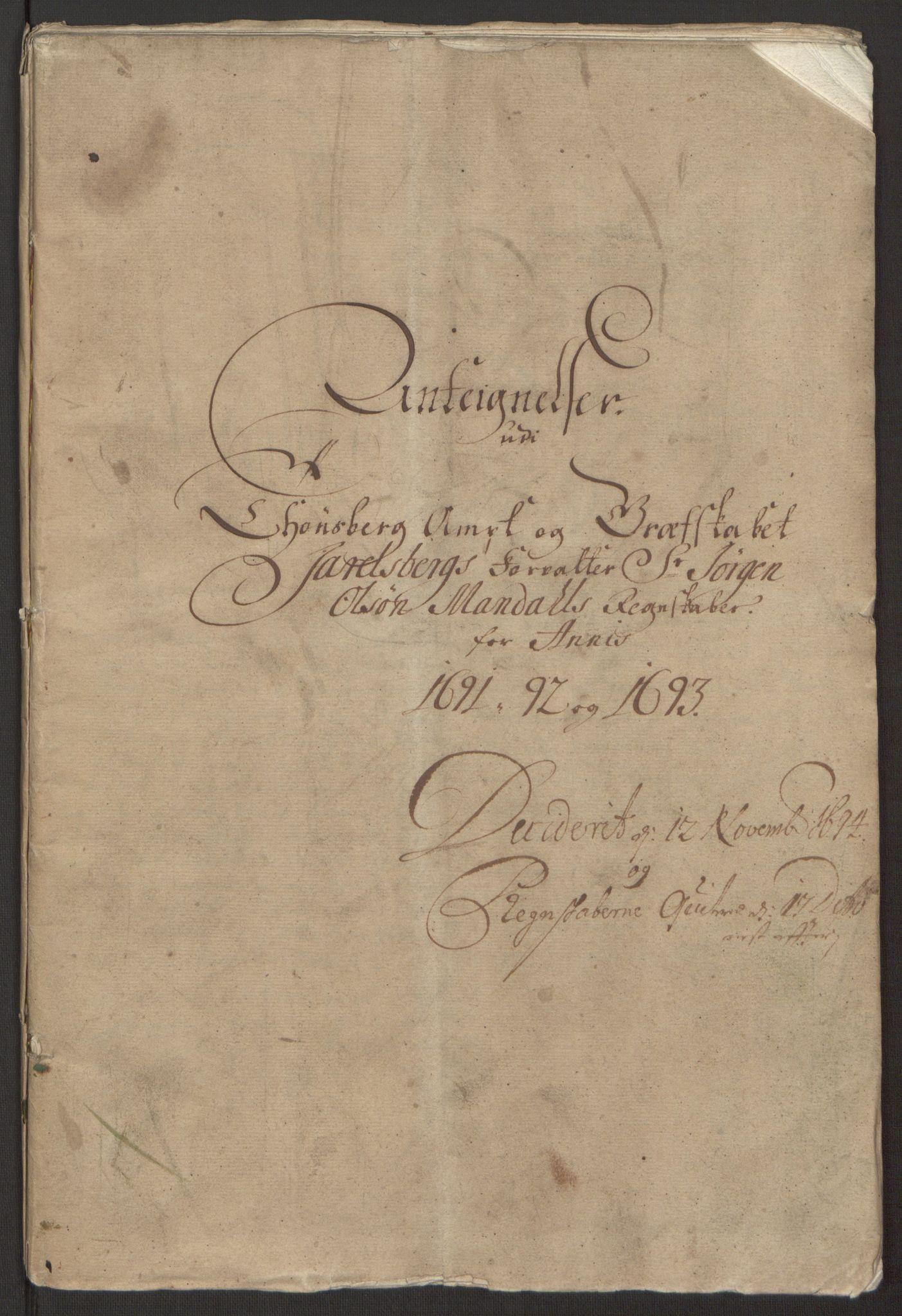 RA, Rentekammeret inntil 1814, Reviderte regnskaper, Fogderegnskap, R32/L1866: Fogderegnskap Jarlsberg grevskap, 1693, s. 426