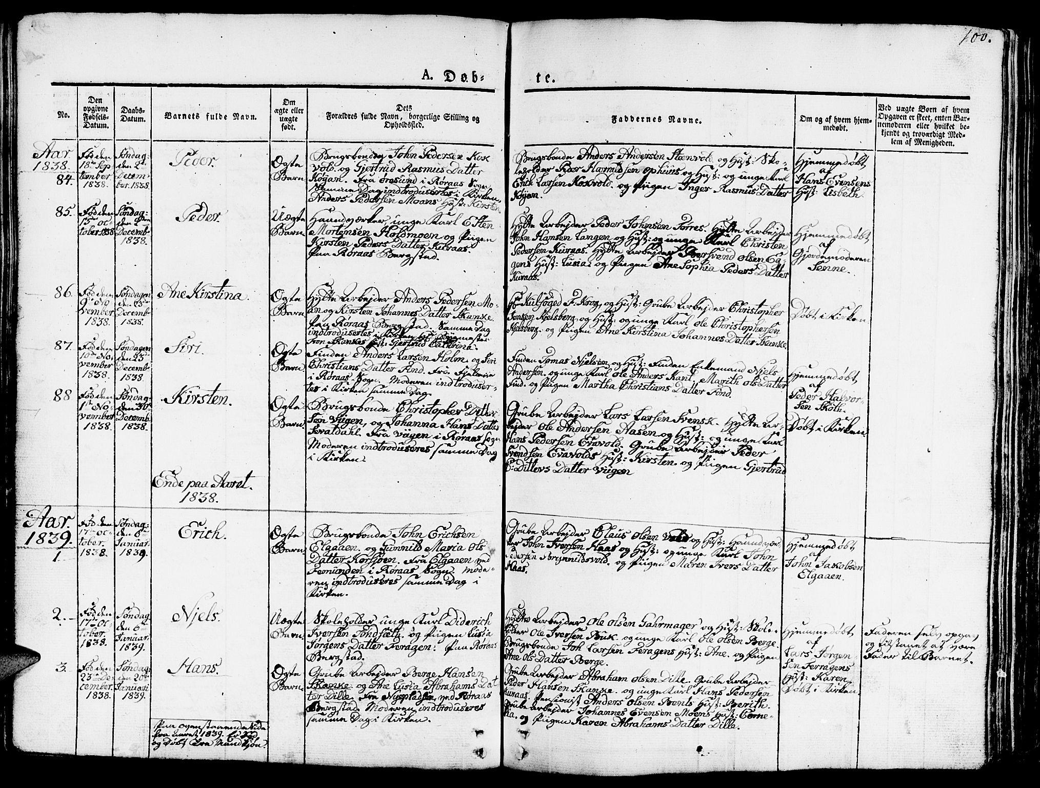 SAT, Ministerialprotokoller, klokkerbøker og fødselsregistre - Sør-Trøndelag, 681/L0938: Klokkerbok nr. 681C02, 1829-1879, s. 100