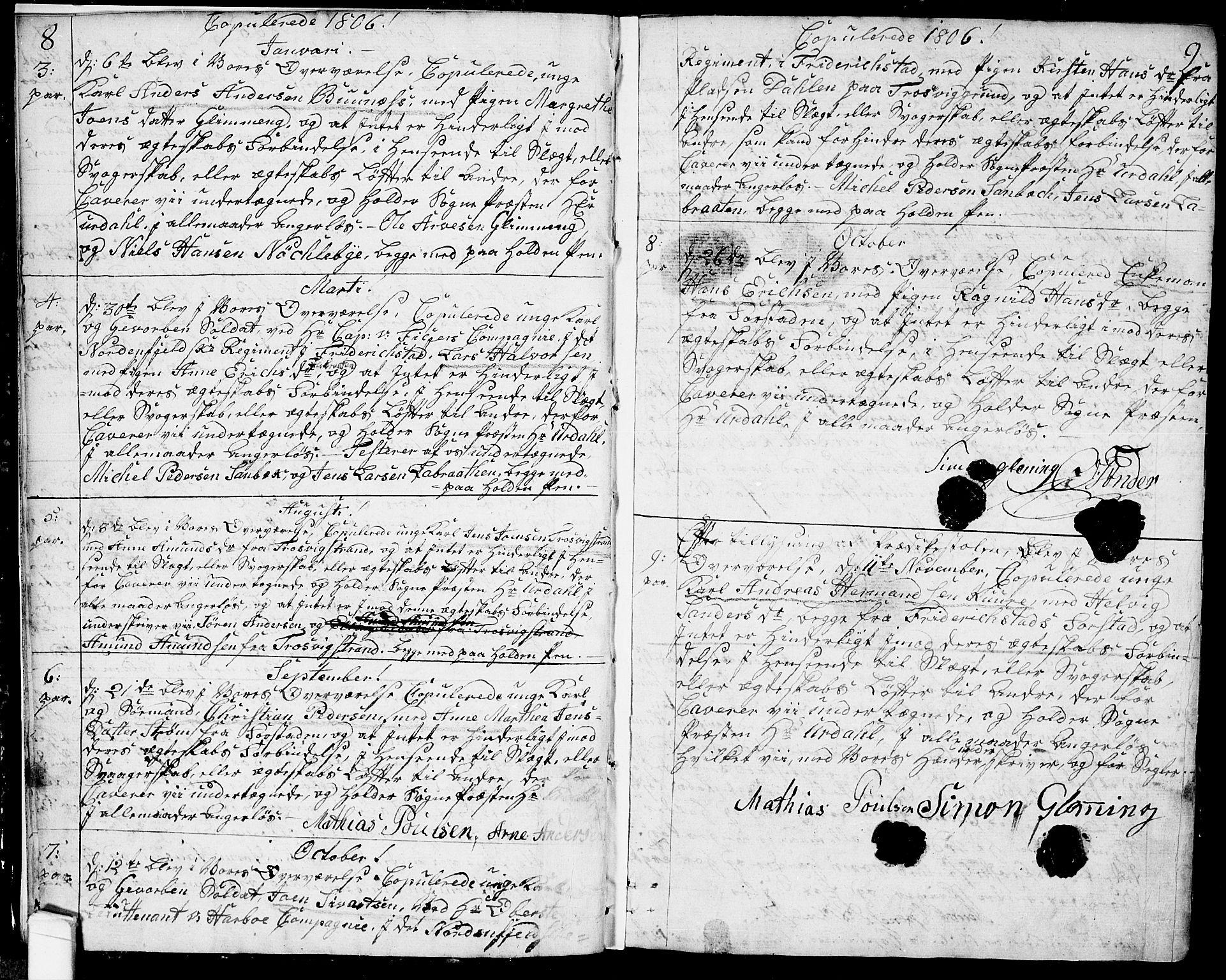 SAO, Glemmen prestekontor Kirkebøker, F/Fa/L0003: Ministerialbok nr. 3, 1803-1815, s. 8-9
