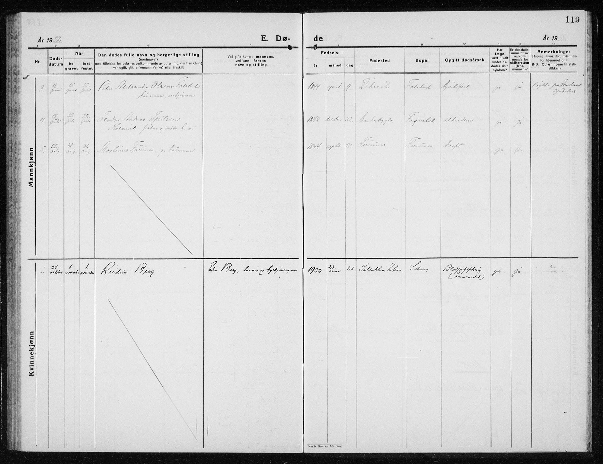 SAT, Ministerialprotokoller, klokkerbøker og fødselsregistre - Nord-Trøndelag, 719/L0180: Klokkerbok nr. 719C01, 1878-1940, s. 119