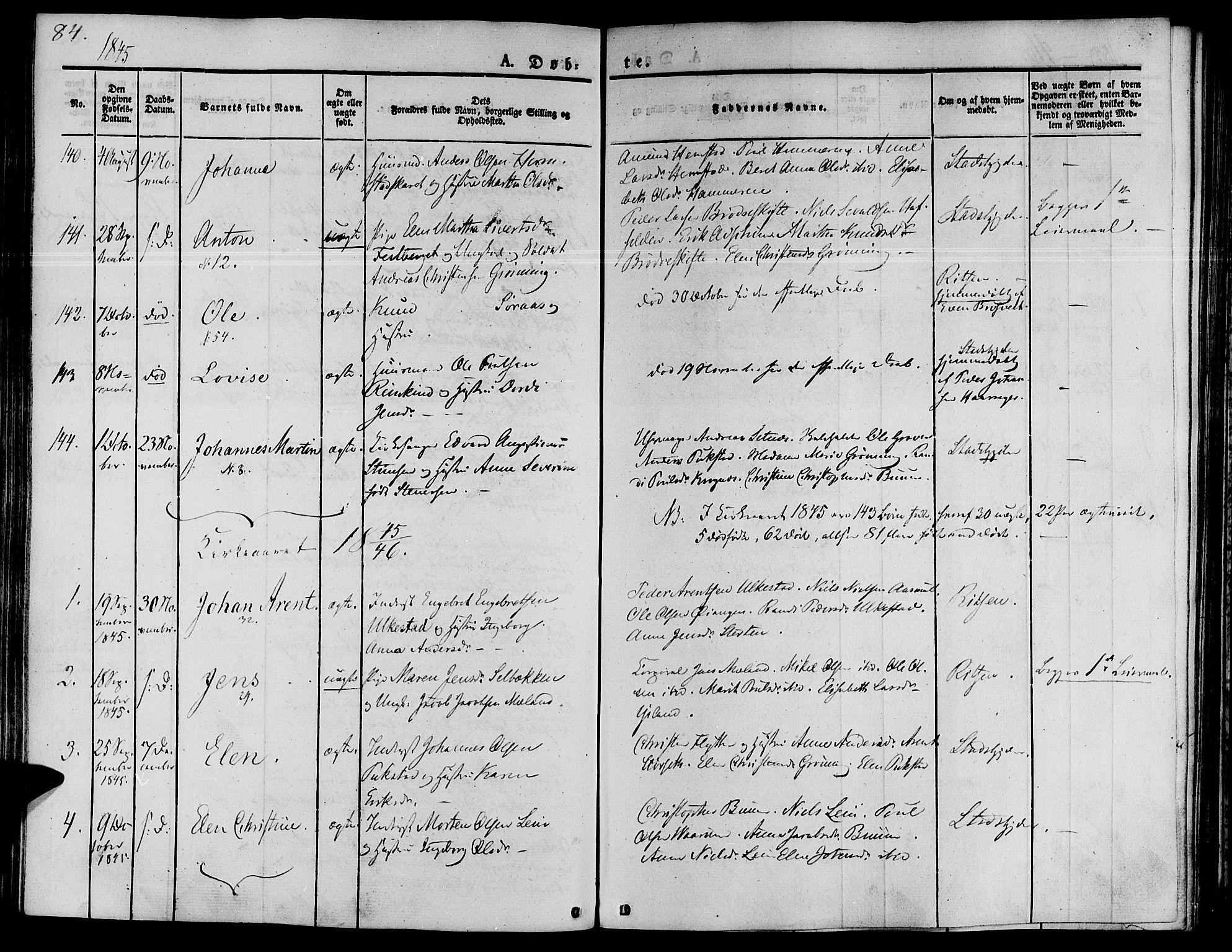 SAT, Ministerialprotokoller, klokkerbøker og fødselsregistre - Sør-Trøndelag, 646/L0610: Ministerialbok nr. 646A08, 1837-1847, s. 84