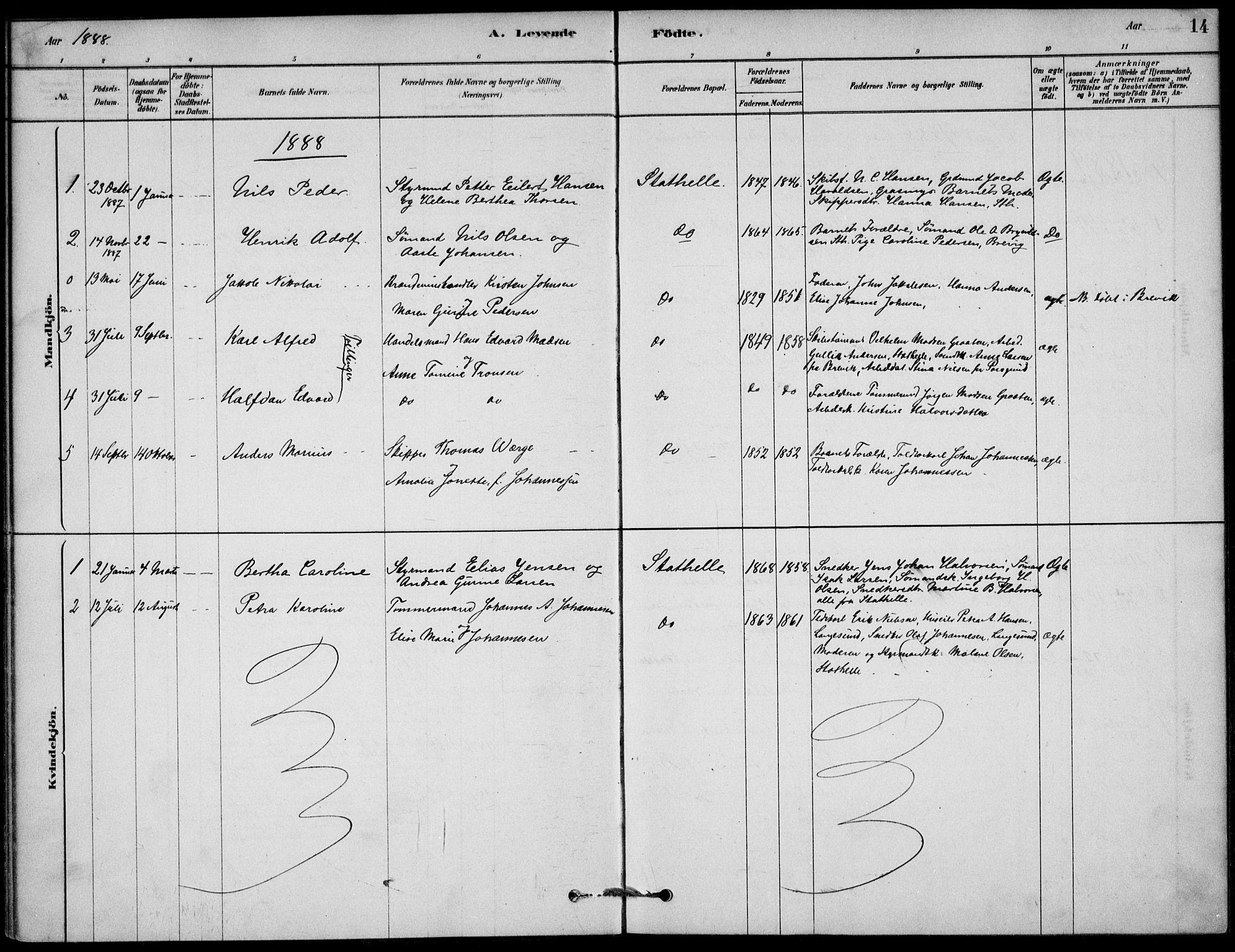 SAKO, Bamble kirkebøker, G/Gb/L0001: Klokkerbok nr. II 1, 1878-1900, s. 14