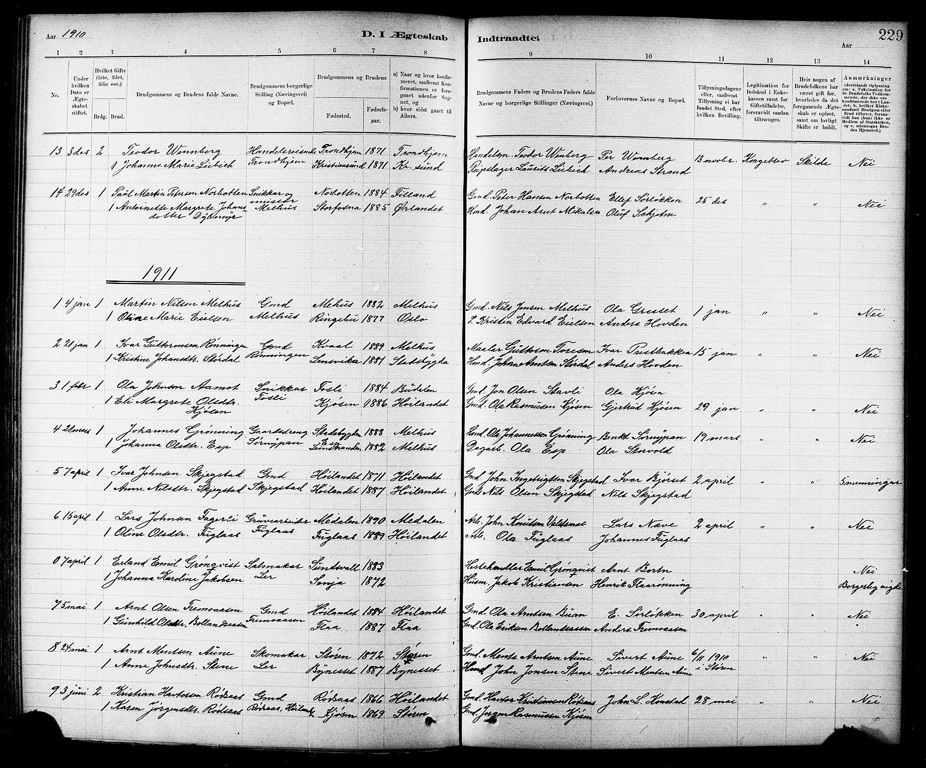 SAT, Ministerialprotokoller, klokkerbøker og fødselsregistre - Sør-Trøndelag, 691/L1094: Klokkerbok nr. 691C05, 1879-1911, s. 229