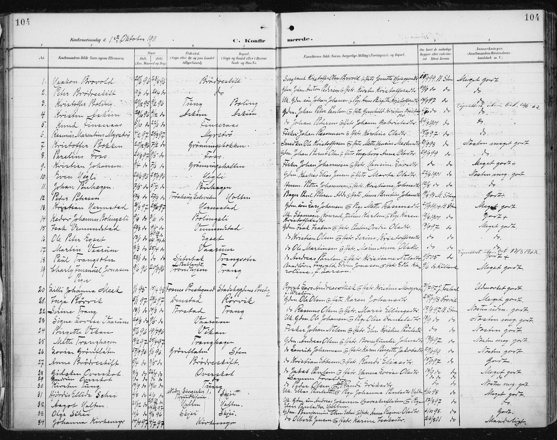 SAT, Ministerialprotokoller, klokkerbøker og fødselsregistre - Sør-Trøndelag, 646/L0616: Ministerialbok nr. 646A14, 1900-1918, s. 104