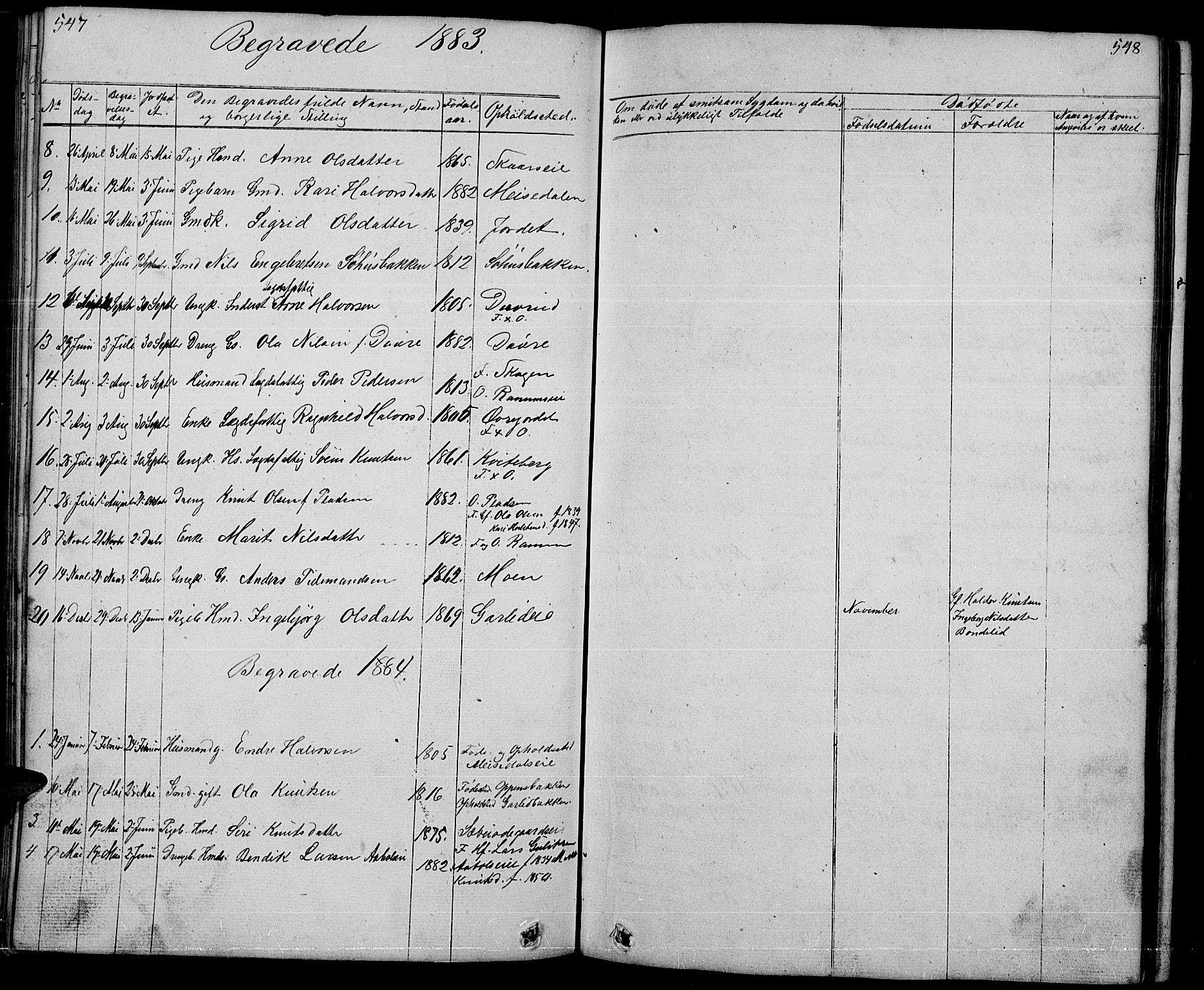 SAH, Nord-Aurdal prestekontor, Klokkerbok nr. 1, 1834-1887, s. 547-548