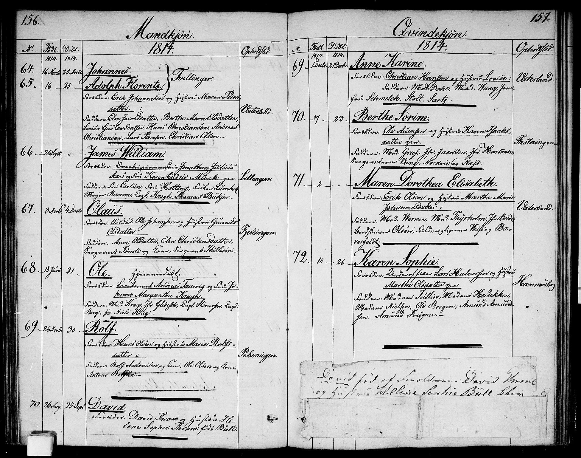 SAO, Garnisonsmenigheten Kirkebøker, G/Ga/L0002: Klokkerbok nr. 2, 1810-1814, s. 156-157
