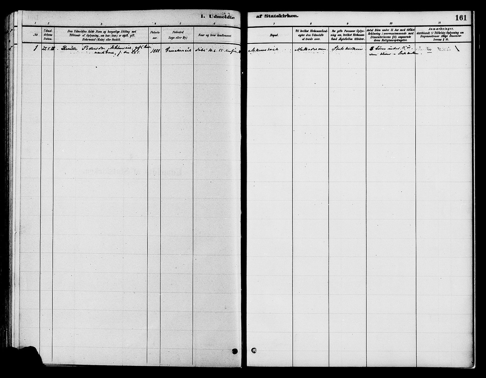 SAH, Gran prestekontor, Ministerialbok nr. 16, 1880-1888, s. 161