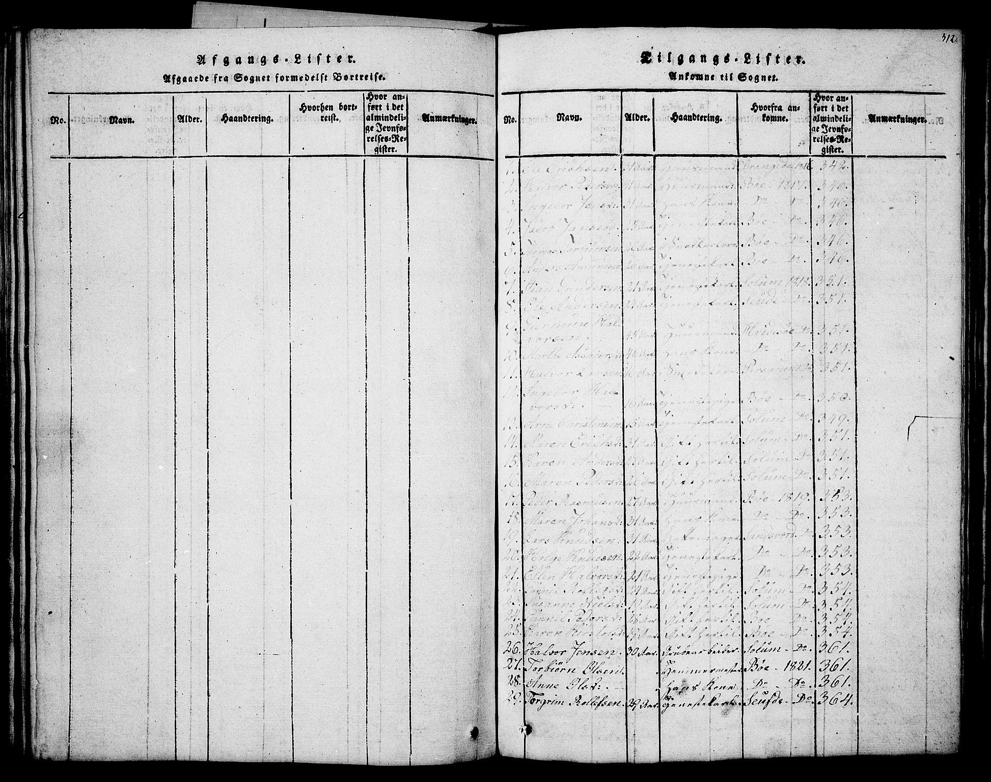 SAKO, Holla kirkebøker, G/Ga/L0001: Klokkerbok nr. I 1, 1814-1830, s. 312